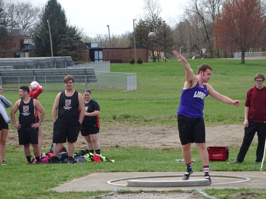 Granville Christian senior Dom Nutter competes in the shot put Saturday during the Lakewood Invitational.