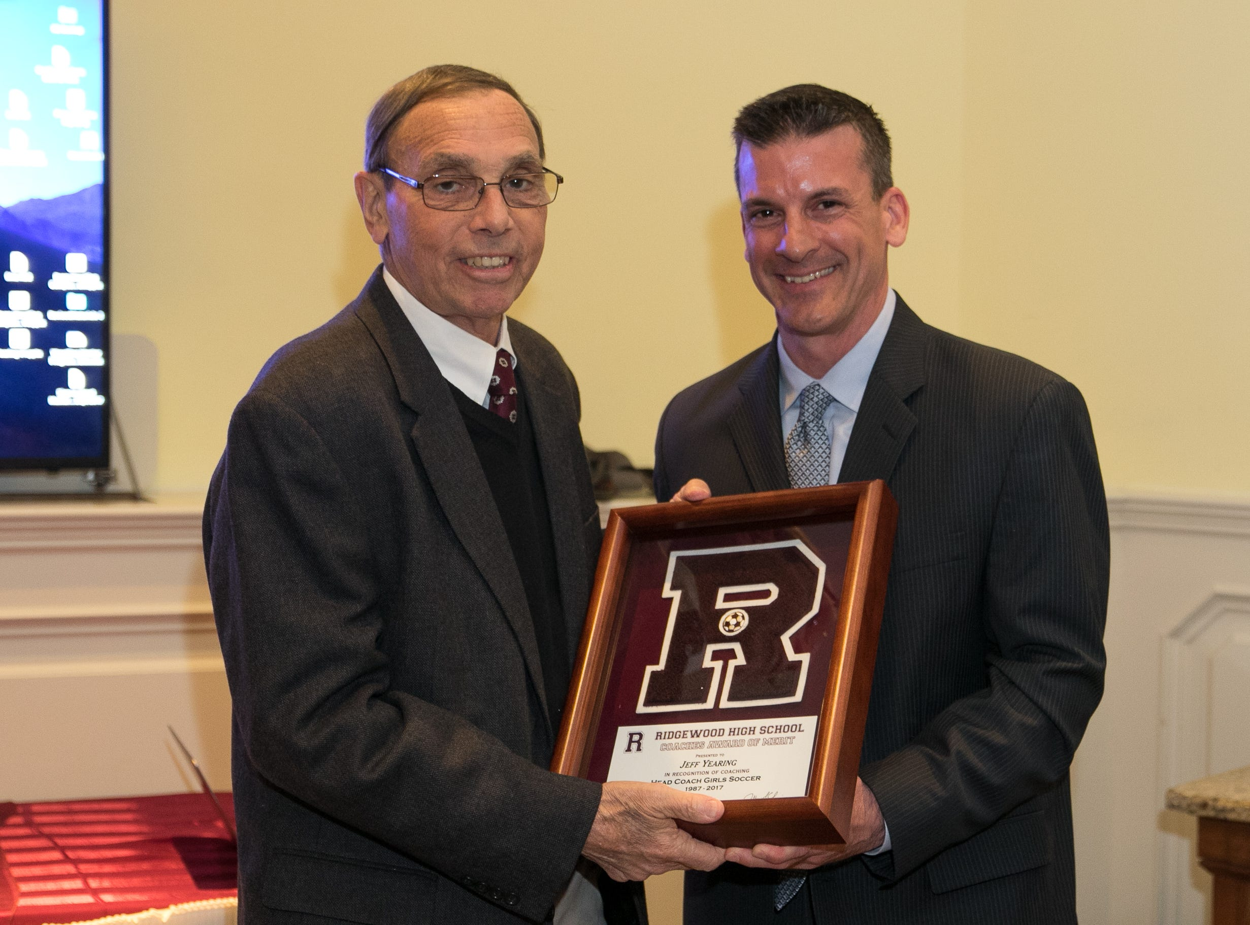 Honored inductee Coach Jeff Yearing with Keith Cook. Ridgewood High School held it's Hall of Fame Class of 2018 Induction Dinner, honoring long time coach Jeff Yearing at the Brickhouse in Wyckoff. 04/05/2019