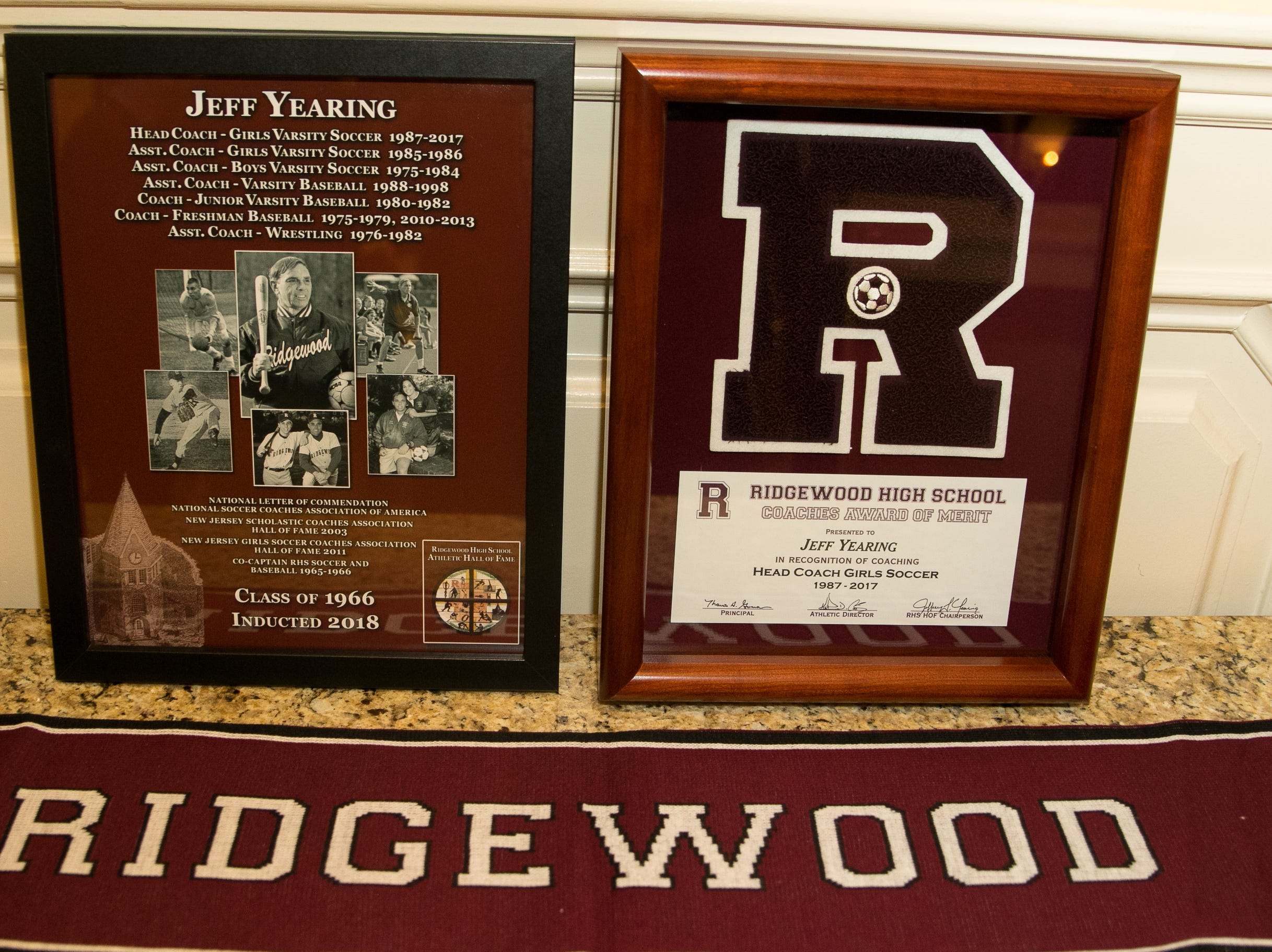 Honored inductee Coach Jeff Yearing. Ridgewood High School held it's Hall of Fame Class of 2018 Induction Dinner, honoring long time coach Jeff Yearing at the Brickhouse in Wyckoff. 04/05/2019
