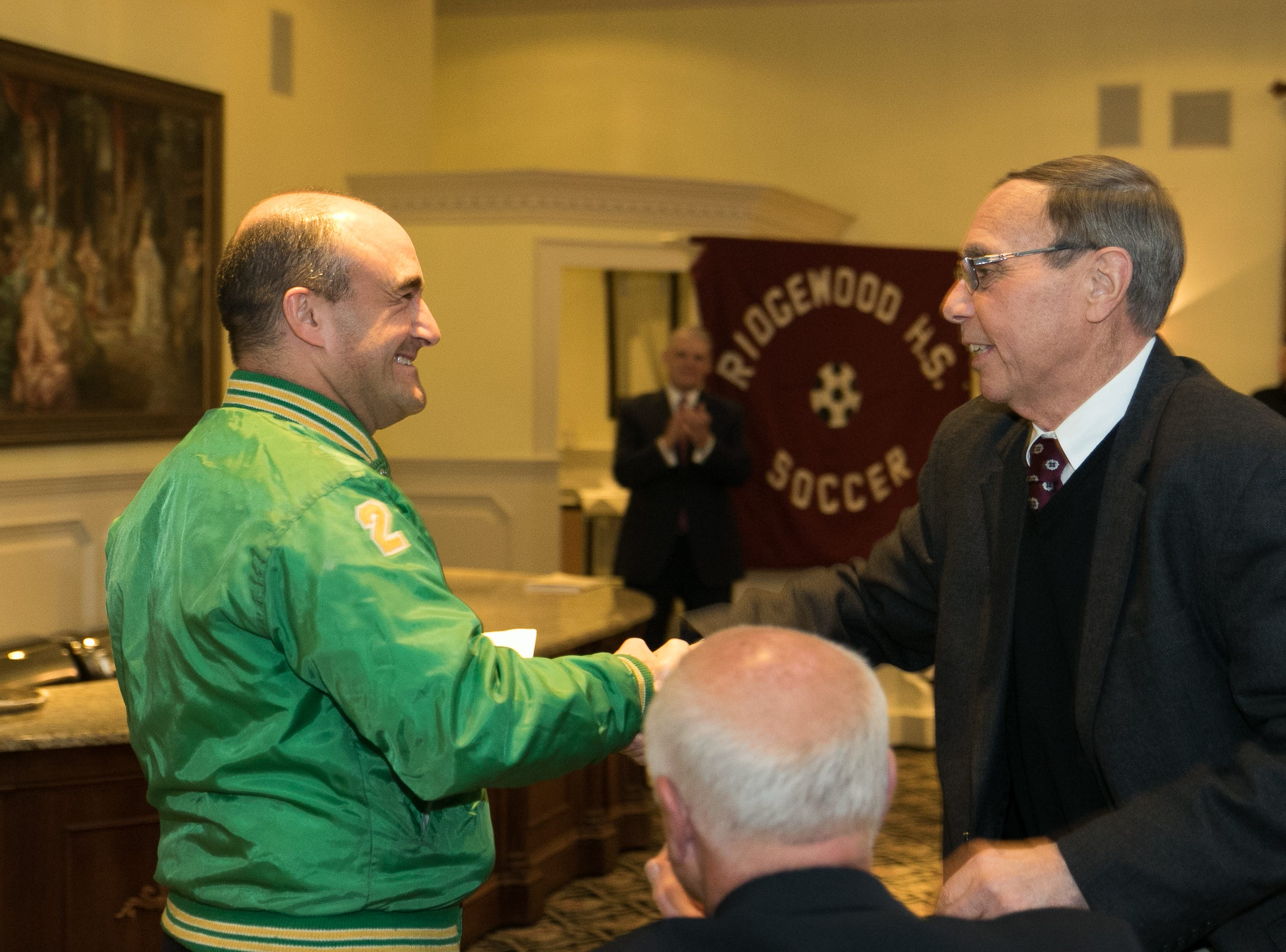 Dr. Paul Semendinger, Honored inductee Coach Jeff Yearing. Ridgewood High School held it's Hall of Fame Class of 2018 Induction Dinner, honoring long time coach Jeff Yearing at the Brickhouse in Wyckoff. 04/05/2019