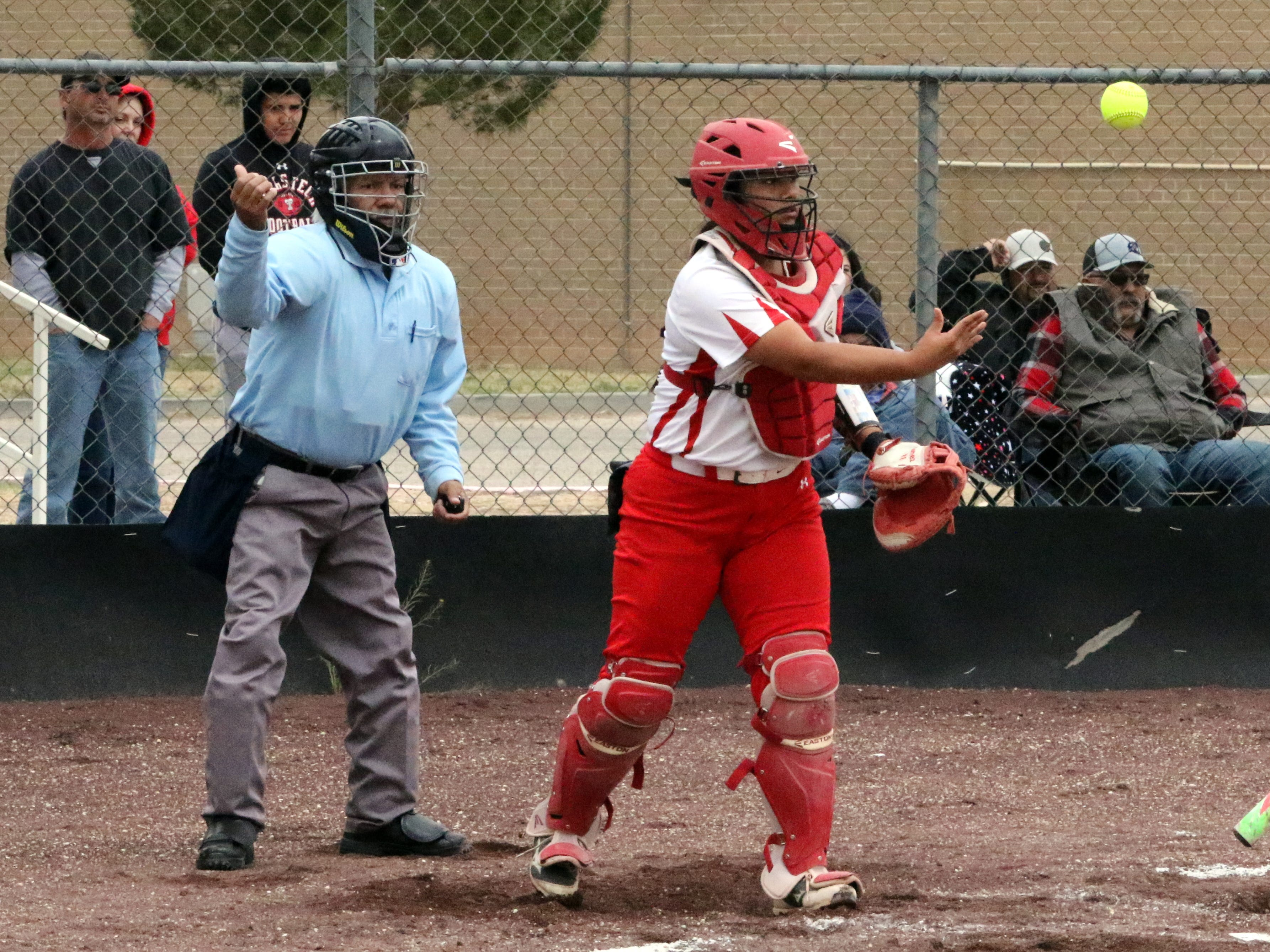 Andrica Gomez tosses the ball after Loving ended the third inning of Game 1 with the bases loaded.