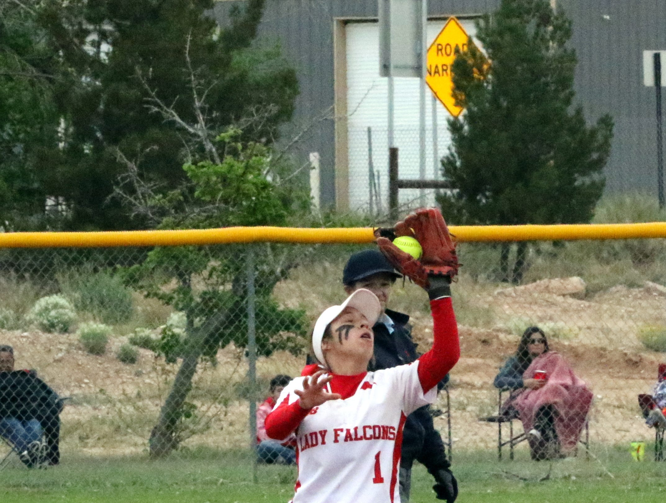 Loving's Tiana Rodriguez catches a pop-up during Saturday's doubleheader against Eunice.