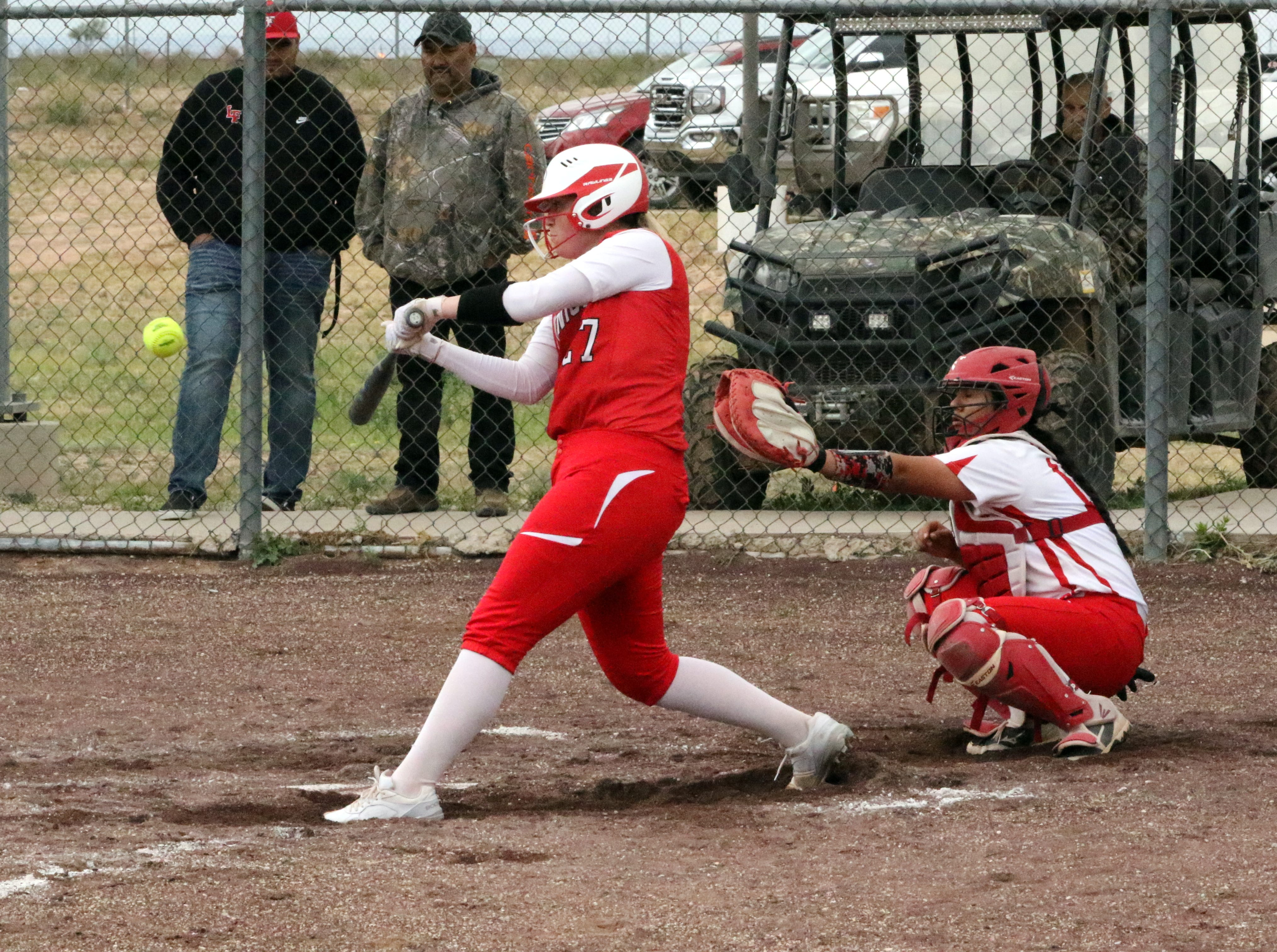 Eunice's Reegan Wilson connects with a pitch during Saturday's doubleheader.