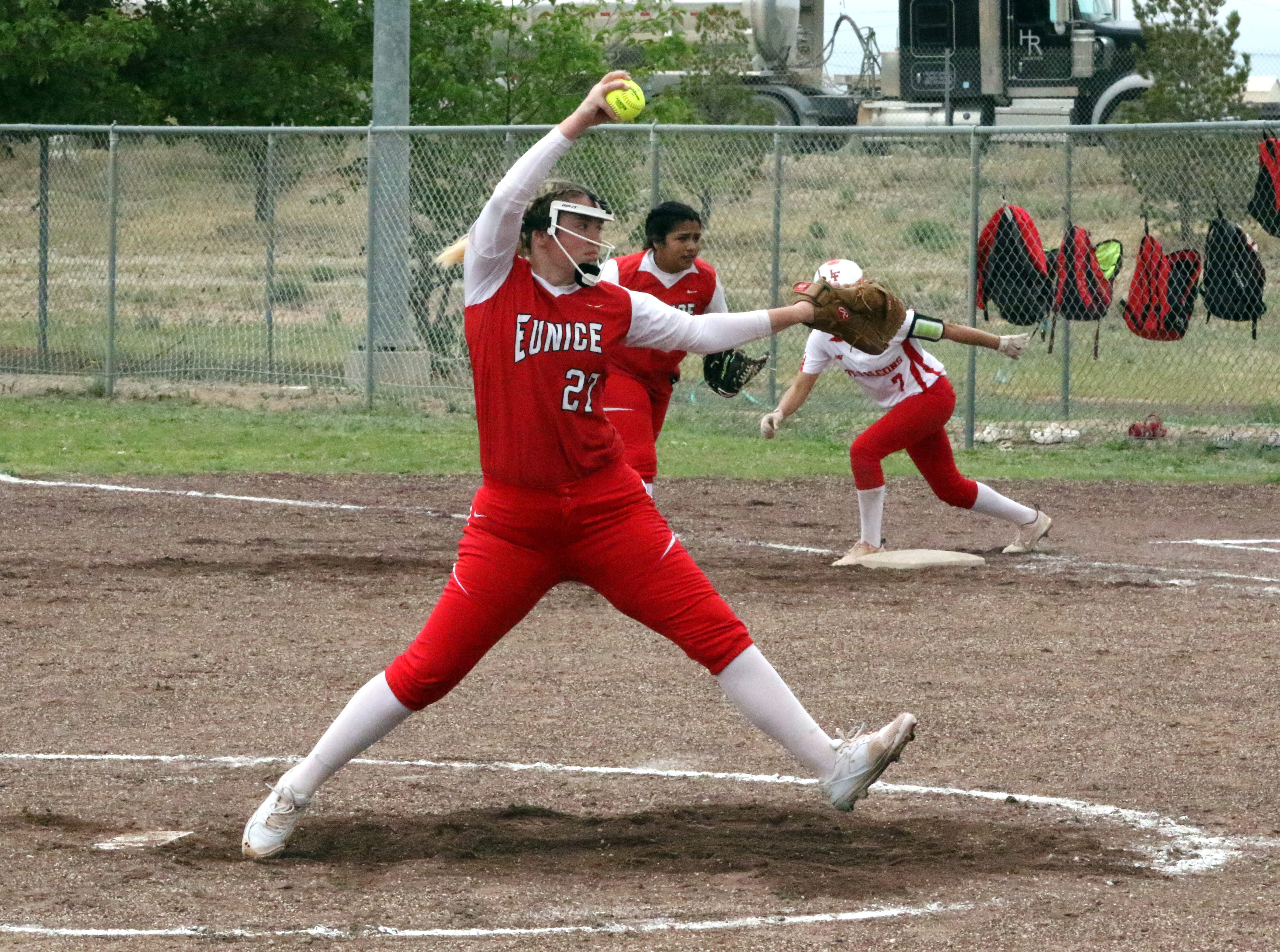 Reegan Wilson pitches during Saturday's doubleheader. She threw both games for Eunice. The Lady Cardinals won Game 1, 13-12 and Loving won Game 2, 16-6.