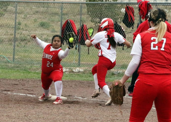 Eunice's Cheyanne Nichols records the final out of Game 1 of Saturday's doubleheader against Loving. This was the first Eunice softball victory against Loving in more than five years.