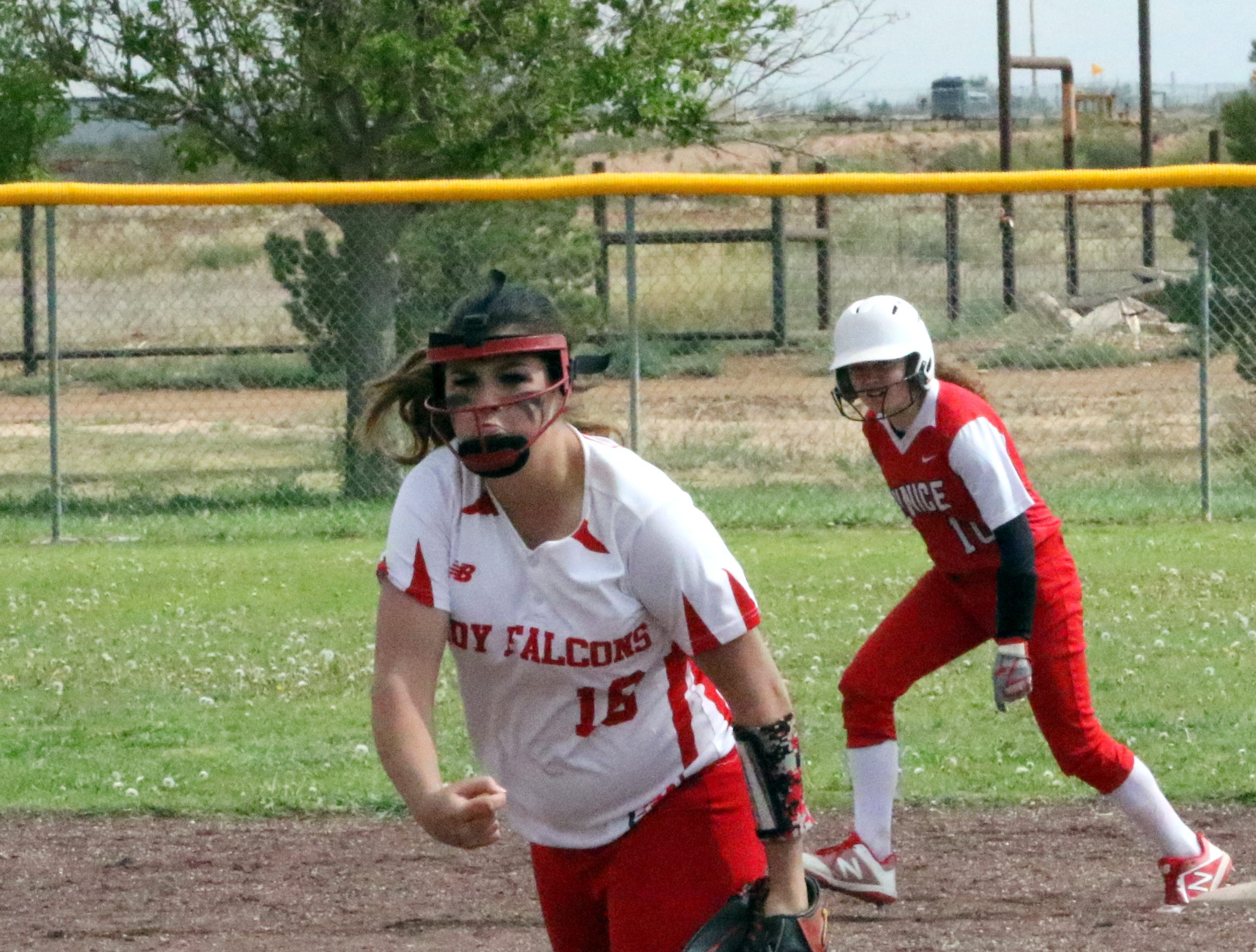Faith McDonald pitches during Game 2 of Saturday's doubleheader. Eunice won Game 1, 13-12 and Loving won Game 2, 16-6.