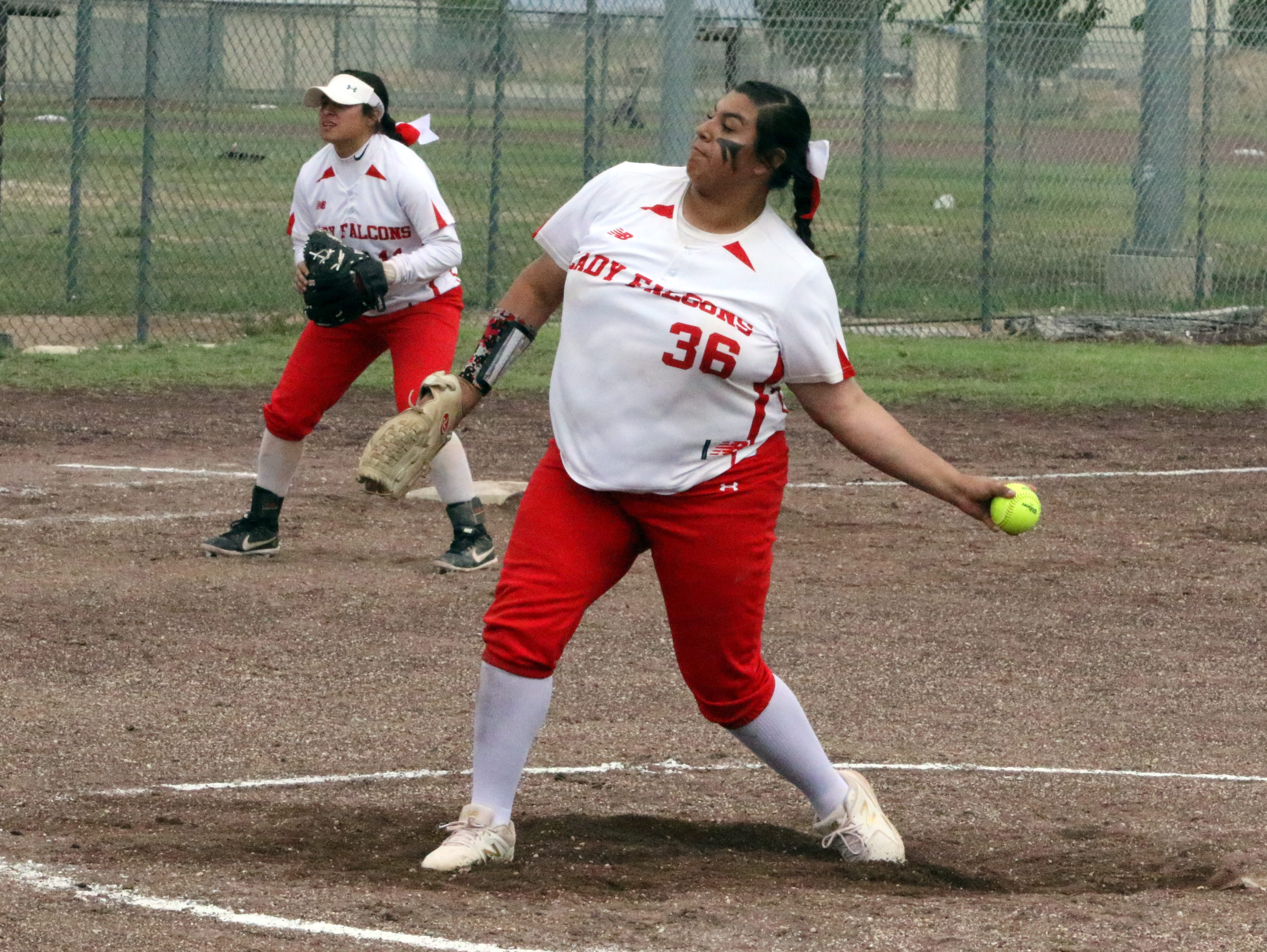 Lorisa Martinez pitches against Eunice during Game 1 of Saturday's doubleheader. Eunice won Game 1, 13-12 and Loving won Game 2, 16-6.