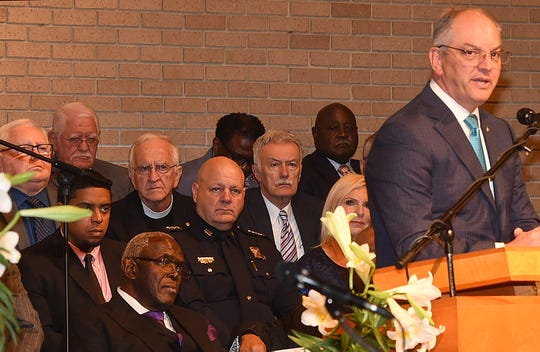 Louisiana Gov. John Bel Edwards addresses members of congregations from three St. Landry Parish, Louisiana, historically black churches who gathered for a Palm Sunday unity service Sunday, April 14, 2019.