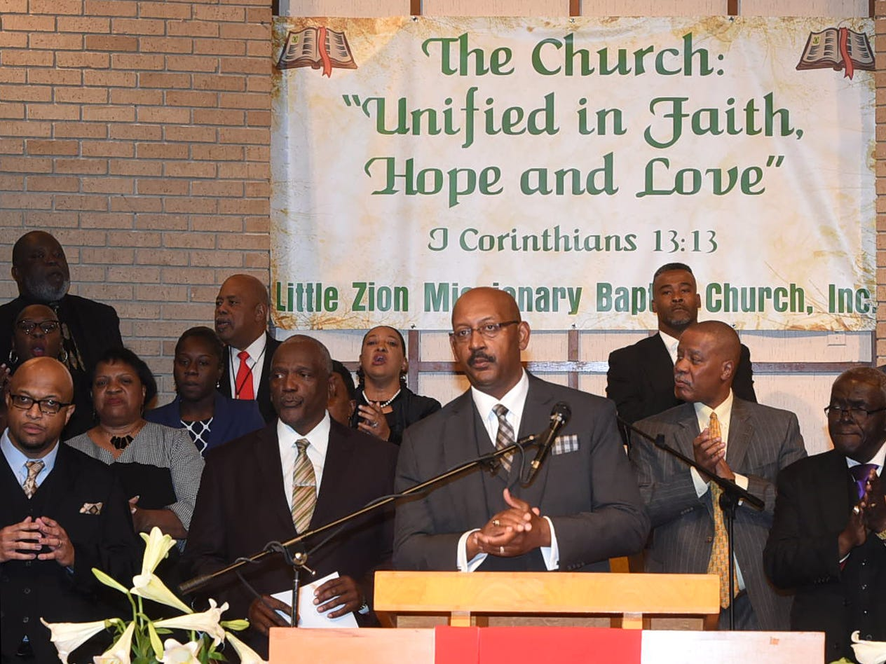 Little Zion Missionary Baptist Church held a unity service on Palm Sunday, April 14, 2019, after three churches in St. Landry Parish were burned down.
