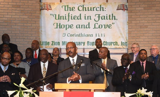 The congregations from three historically black churches in Louisiana gathered at Little Zion Baptist Church in Opelousas, Louisiana, on Sunday, April 14, 2019.