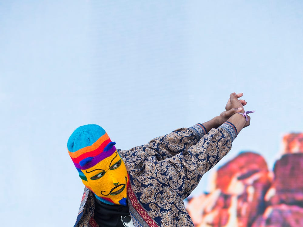 Alf Alpha performs on the Coachella Stage during the 2019 Coachella Valley Music and Arts Festival held at the Empire Polo Club in Indio, California on April 14, 2019.
