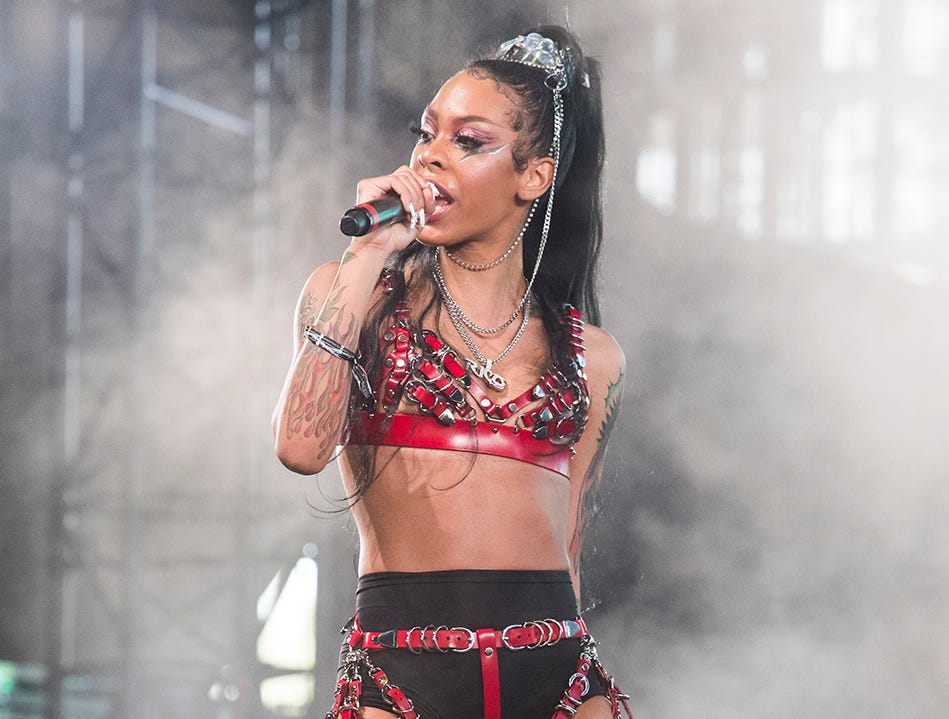 Rico Nasty performs at the Mojave tent during the 2019 Coachella Valley Music and Arts Festival held at the Empire Polo Club in Indio, California on April 14, 2019.