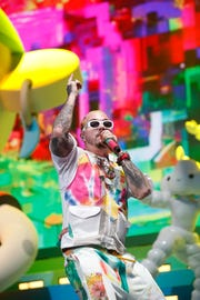 J Balvin performs on the Coachella Stage during the 2019 Coachella Valley Music and Arts Festival held at the Empire Polo Club in Indio, California on April 13, 2019.