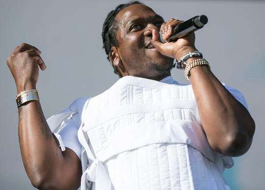 Pusha T plays the main stage at the Coachella Valley Music and Arts Festival in Indio, Calif., on Sunday, April 14, 2019.