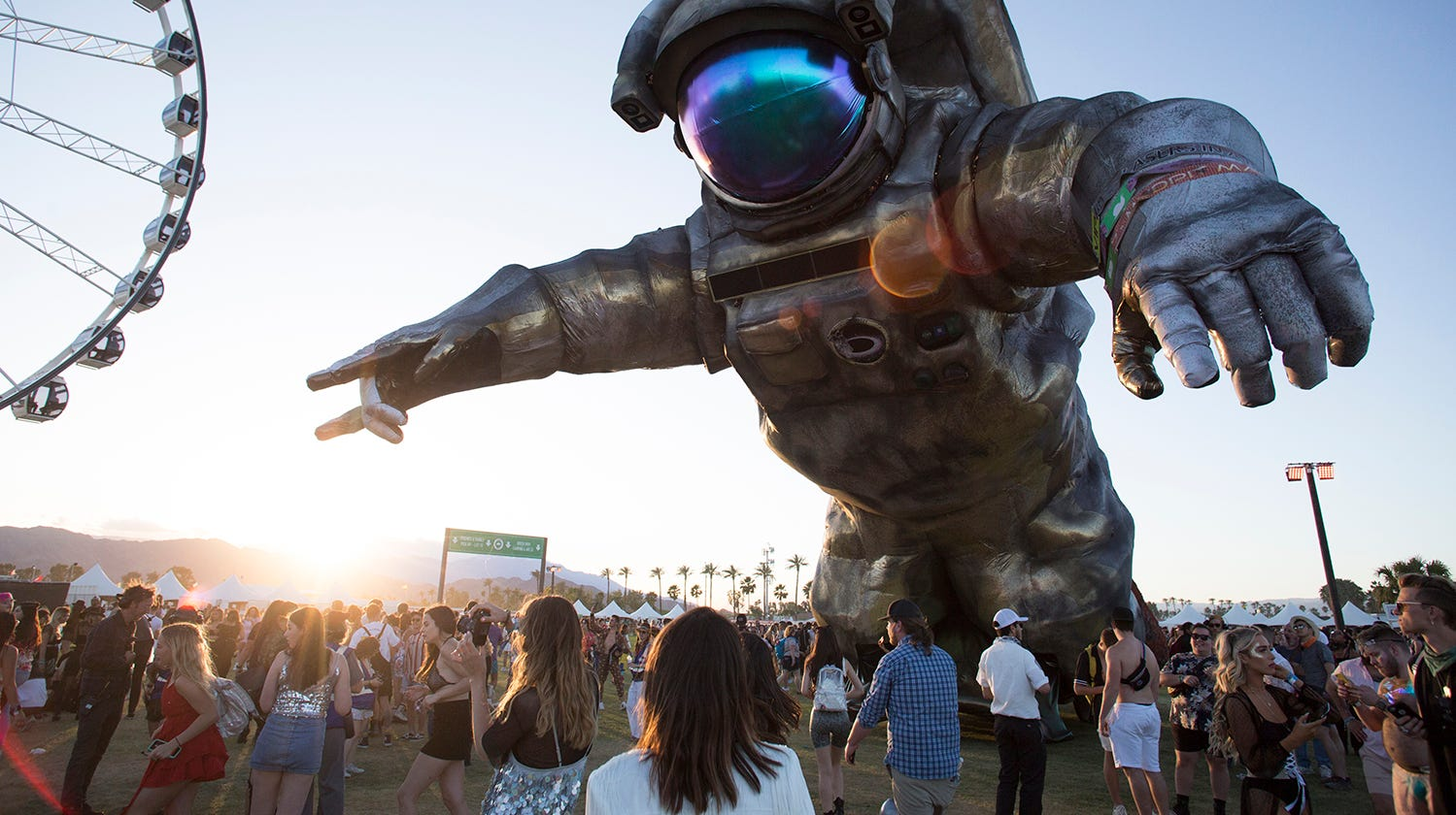The Overview Effect art installation at the 2019 Coachella Valley Music and Arts Festival held at the Empire Polo Club in Indio, California on April 12, 2019.