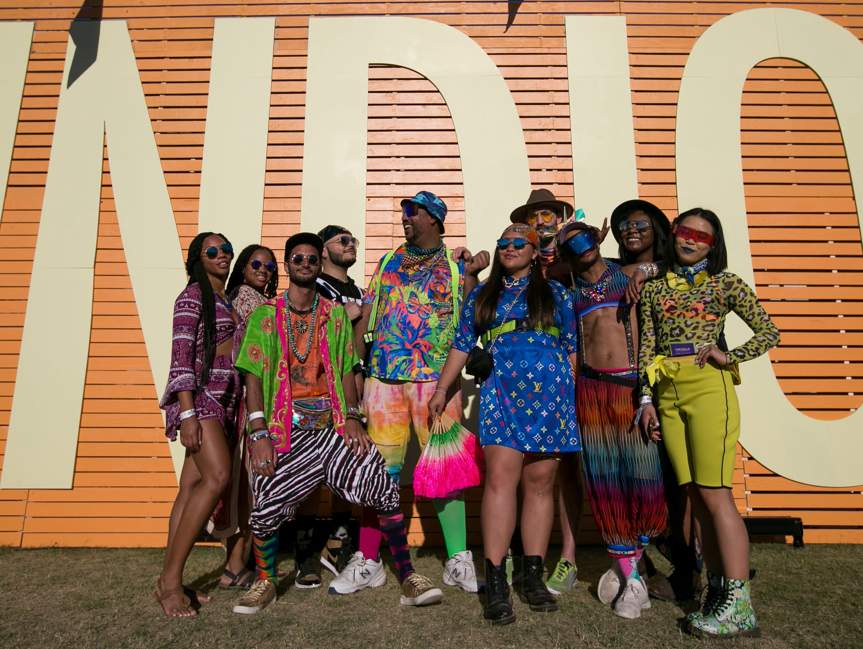 The #Pimphouse group poses in front of the INDIO sign at Coachella 2019 in Indio, Calif. on Sat. April 13, 2019.