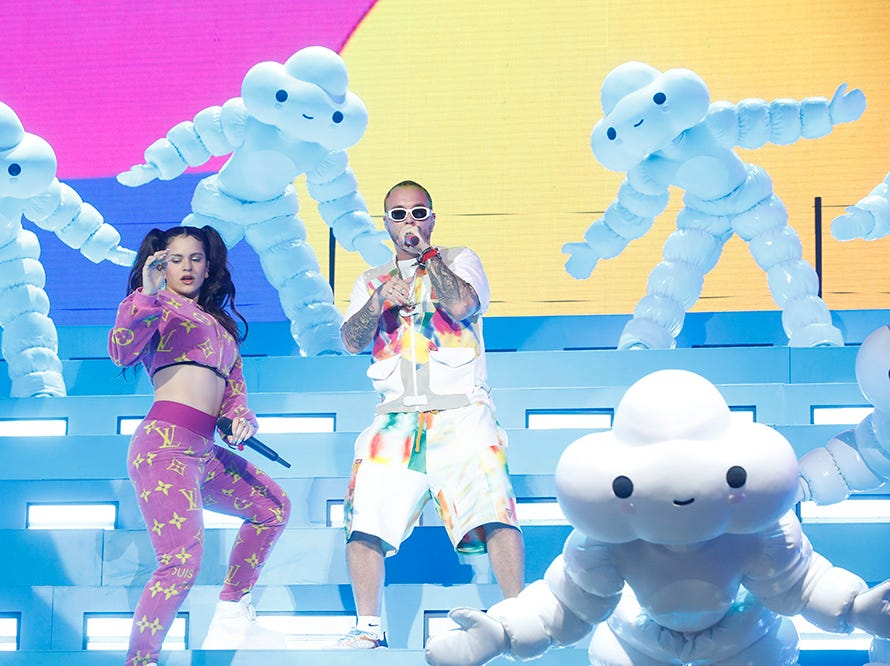 J Balvin and Rosalia perform on the Coachella Stage during the 2019 Coachella Valley Music and Arts Festival held at the Empire Polo Club in Indio, California on April 13, 2019. He also brought out Rosalia during his set.