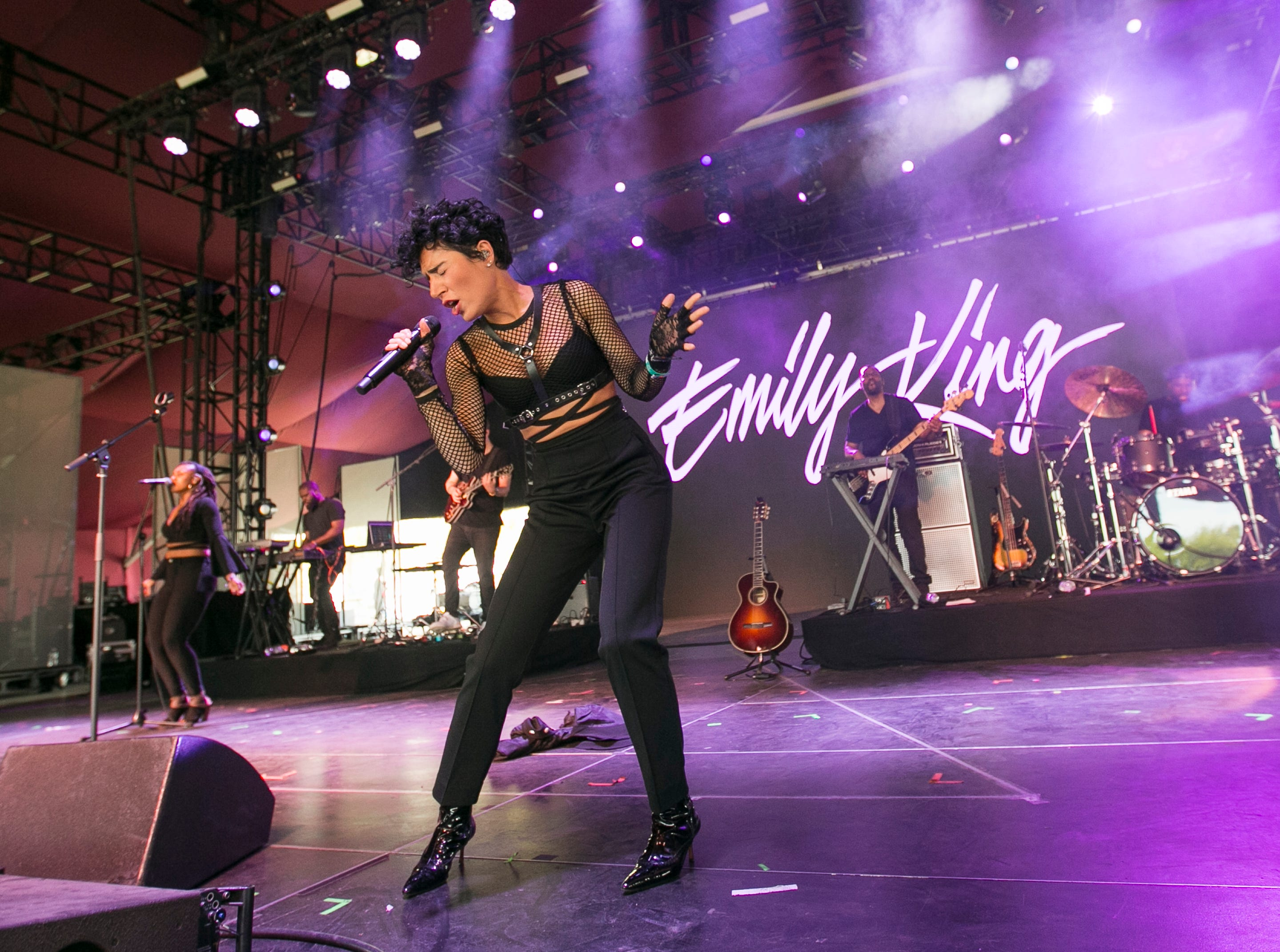 Emily King plays the Gobi stage at the Coachella Valley Music and Arts Festival in Indio, Calif., on Sunday, April 14, 2019.