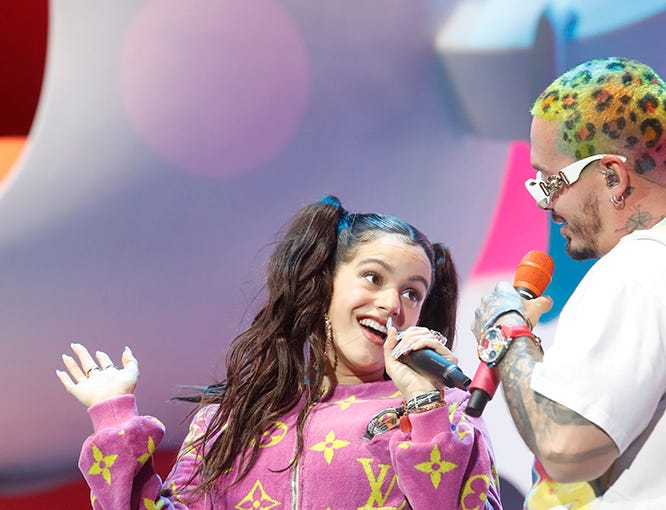 J Balvin and Rosalia perform on the Coachella Stage during the 2019 Coachella Valley Music and Arts Festival held at the Empire Polo Club in Indio, California on April 13, 2019.