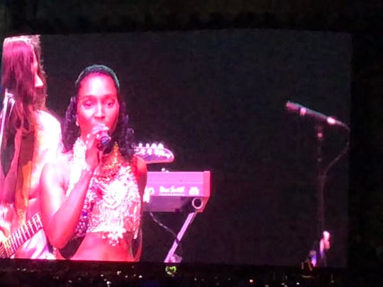 "Rozonda ""Chilli"" Thomas of TLC joins Weezer on stage for ""No Scrubs"" at the Coachella Valley Music and Arts Festival in Indio, Calif., April 13, 2019."