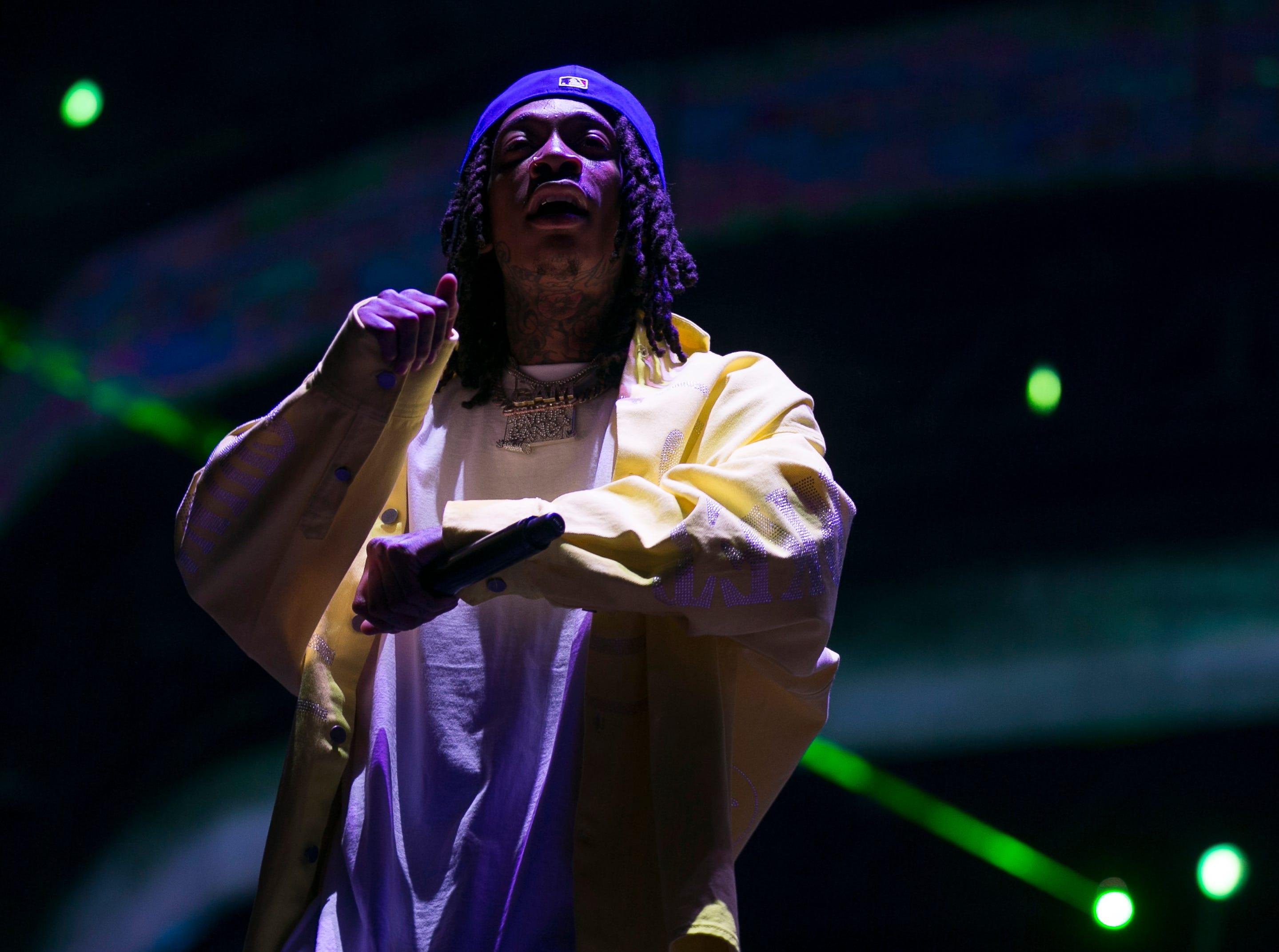 Wiz Khalifa performs at Coachella 2019 in Indio, Calif. on Sat. April 13, 2019.