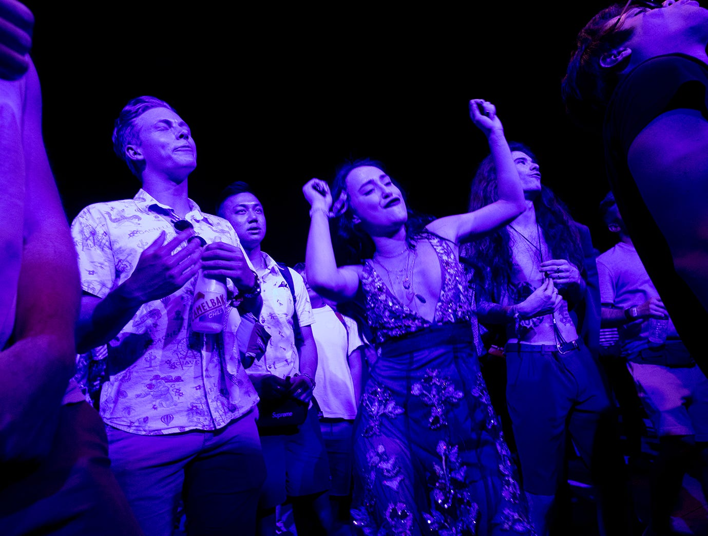 Fans of Easy Life enjoy their performance in the Sonora Tent during the 2019 Coachella Valley Music and Arts Festival held at the Empire Polo Club in Indio, California on April 14, 2019.