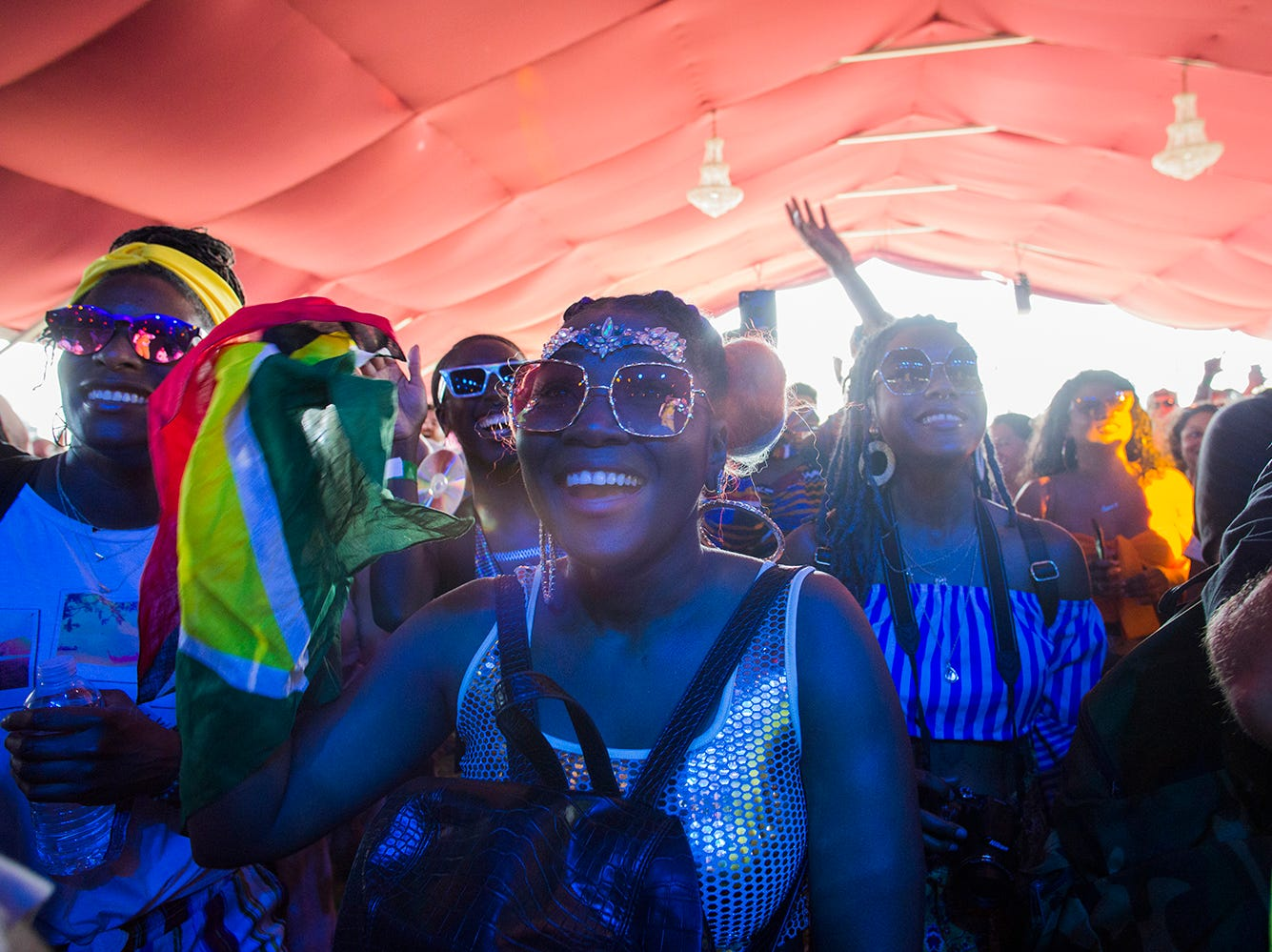 A fan of Calypso Rose enjoys her music at the Gobi Tent during the 2019 Coachella Valley Music and Arts Festival held at the Empire Polo Club in Indio, California on April 12, 2019.