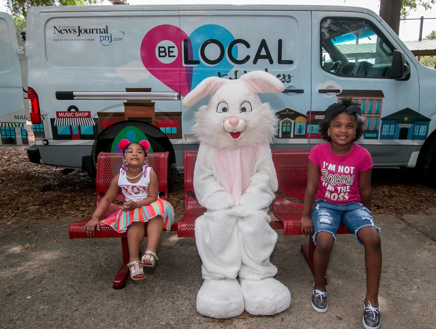 The Easter Bunny poses for photos during the city of Pensacola's Parks and Recreation Department's annual Easter Egg Hunt at Roger Scott Athletic Complex on Saturday, April 13, 2019.