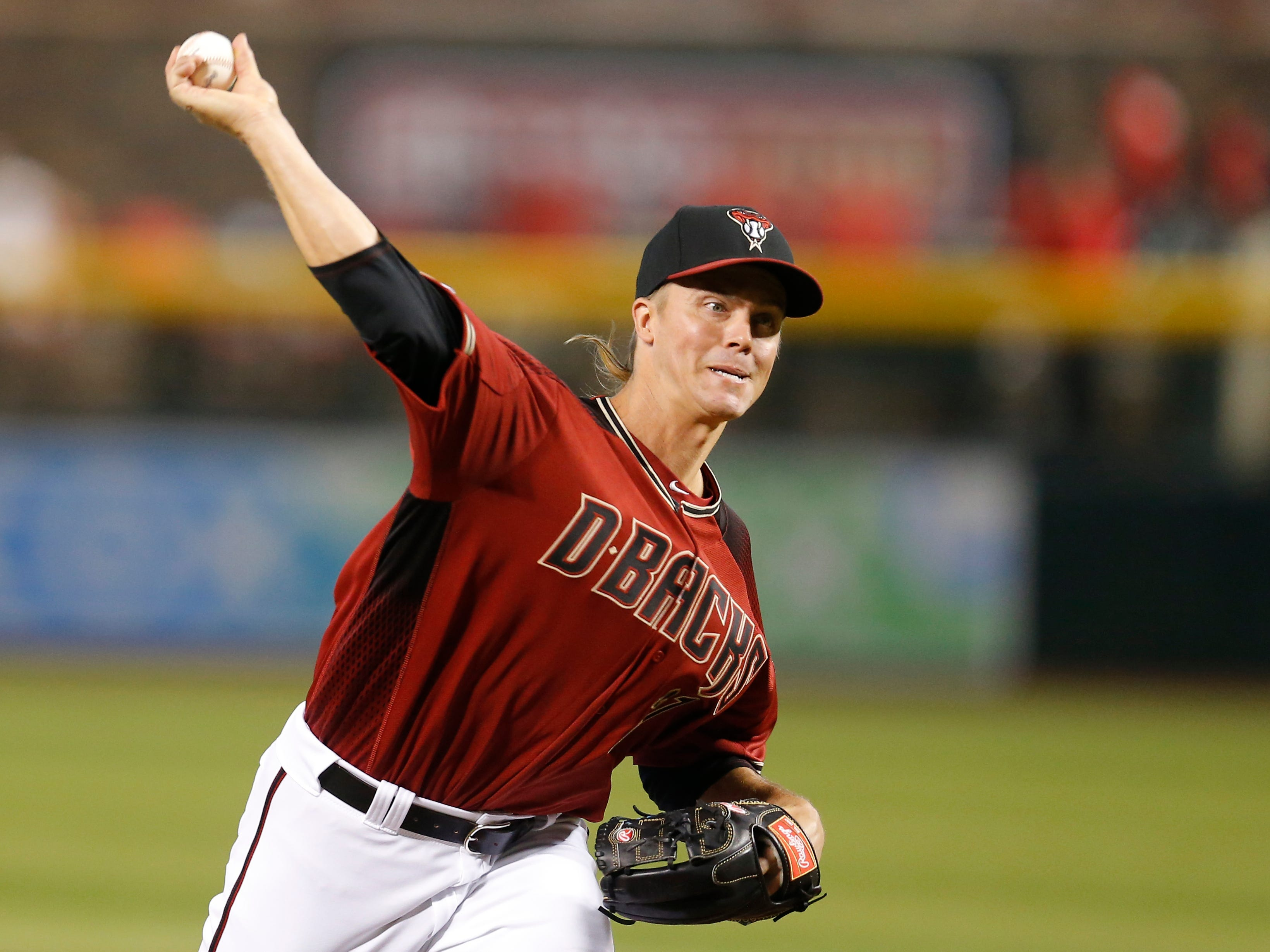 Arizona Diamondbacks starting pitcher Zack Greinke (21) in the first inning during a baseball game against the San Diego Padres, Sunday, April 14, 2019, in Phoenix. (AP Photo/Rick Scuteri)