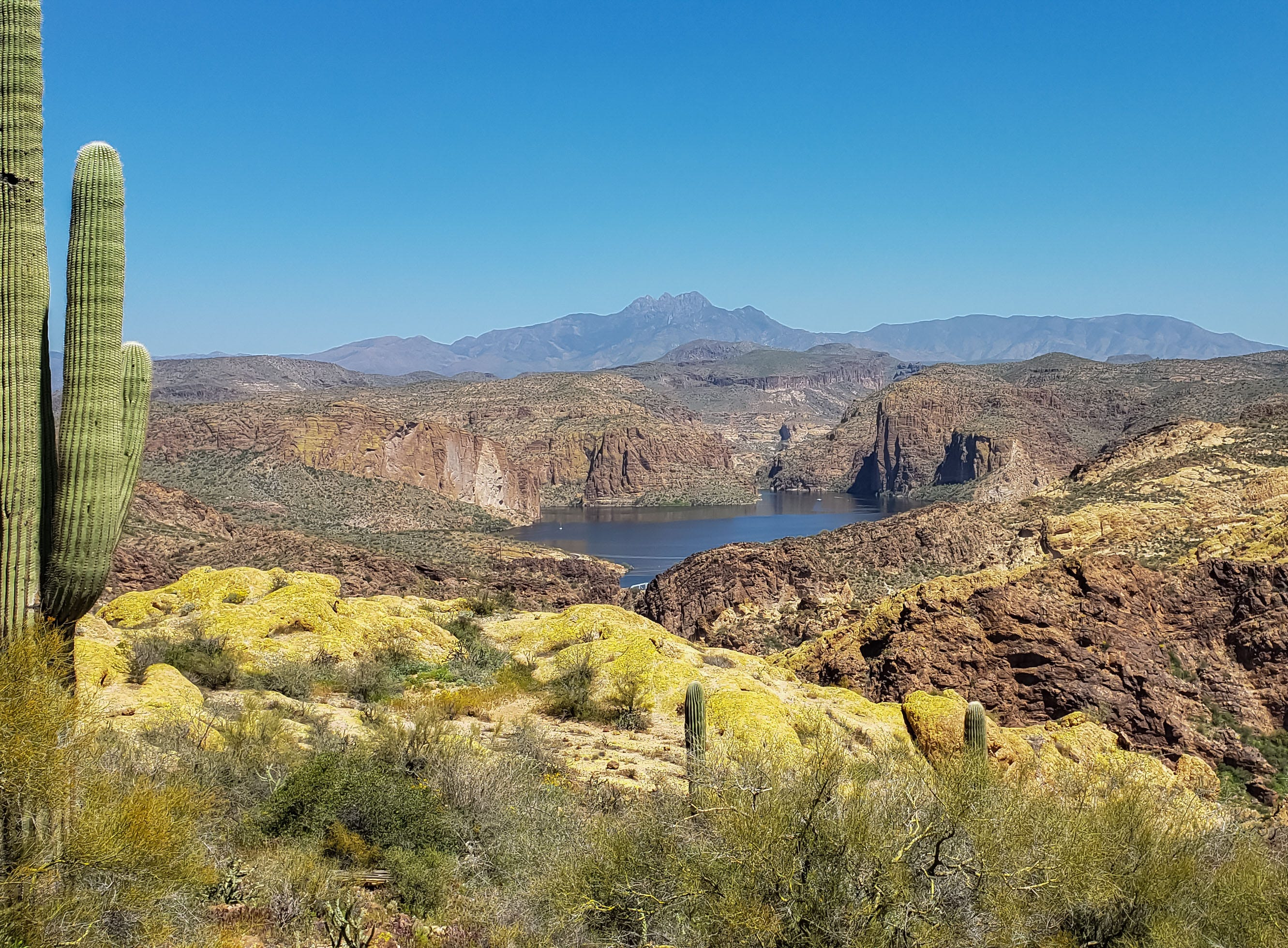 Picture of Canyon Lake and the Four Peaks.