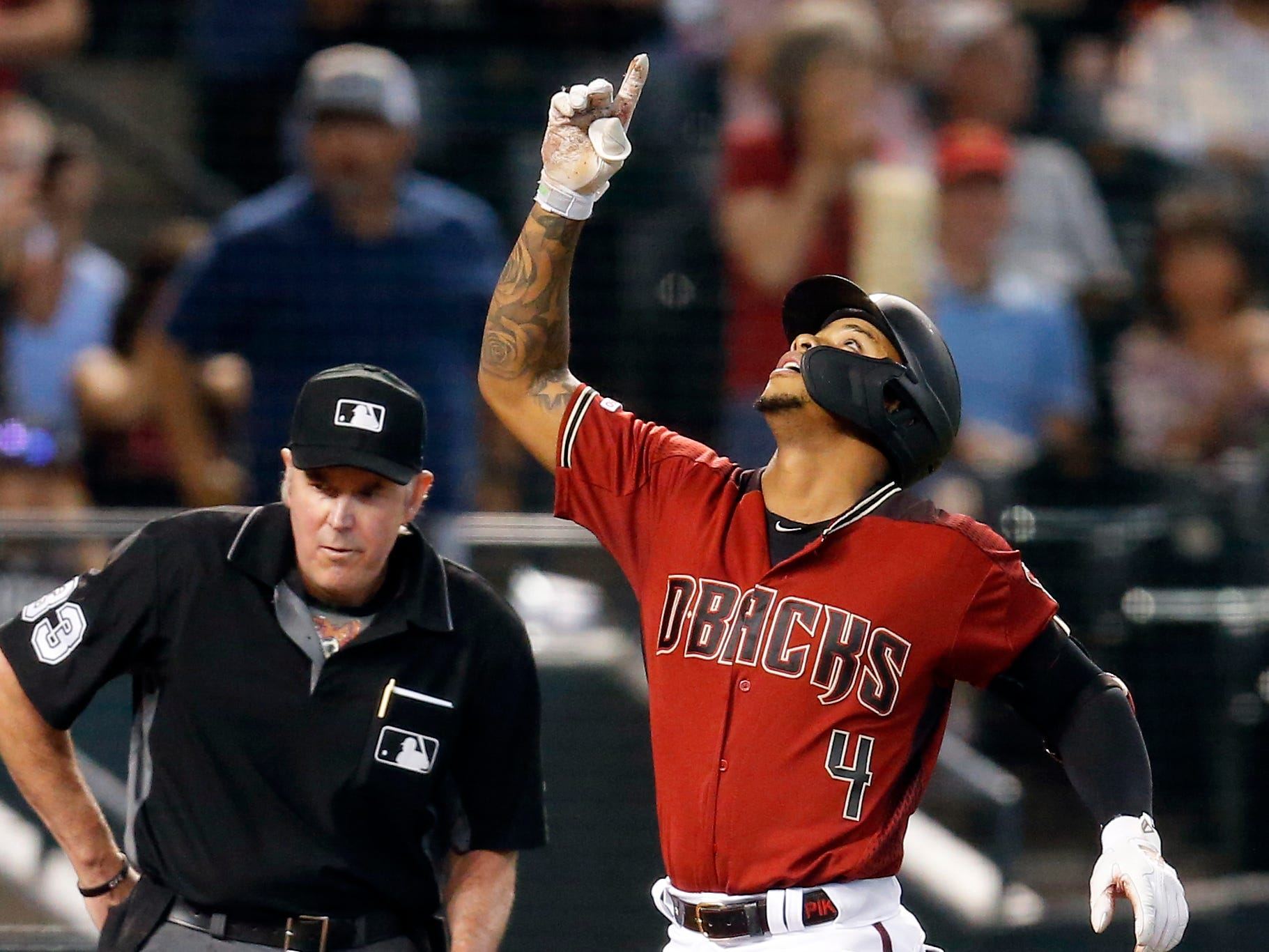 Arizona Diamondbacks' Ketel Marte (4) celebrates after hitting a two-run home run against the San Diego Padres in the third inning during a baseball game, Sunday, April 14, 2019, in Phoenix. (AP Photo/Rick Scuteri)