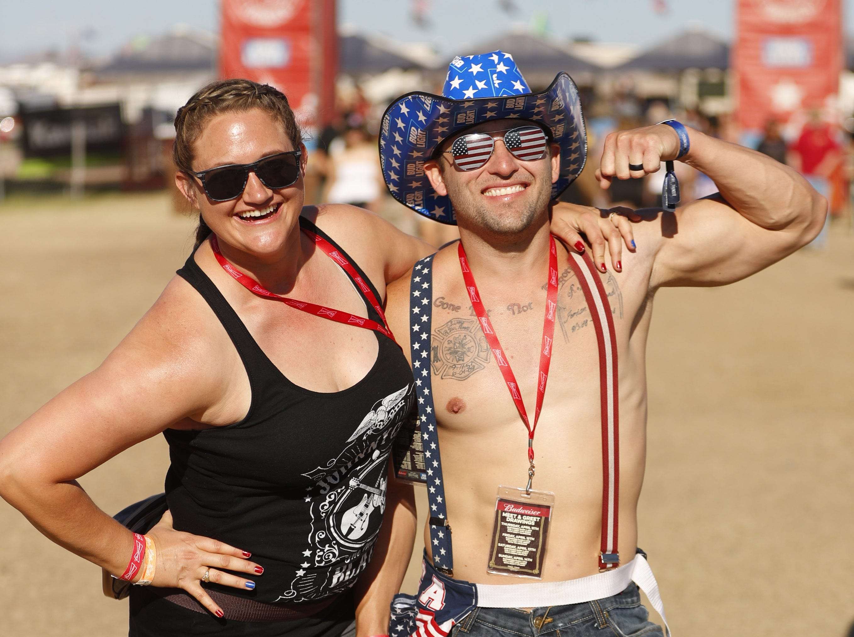 Nikki Fowler and Josh Fowler pose for a picture during Country Thunder in Florence, Ariz. on Saturday, April 13, 2019.