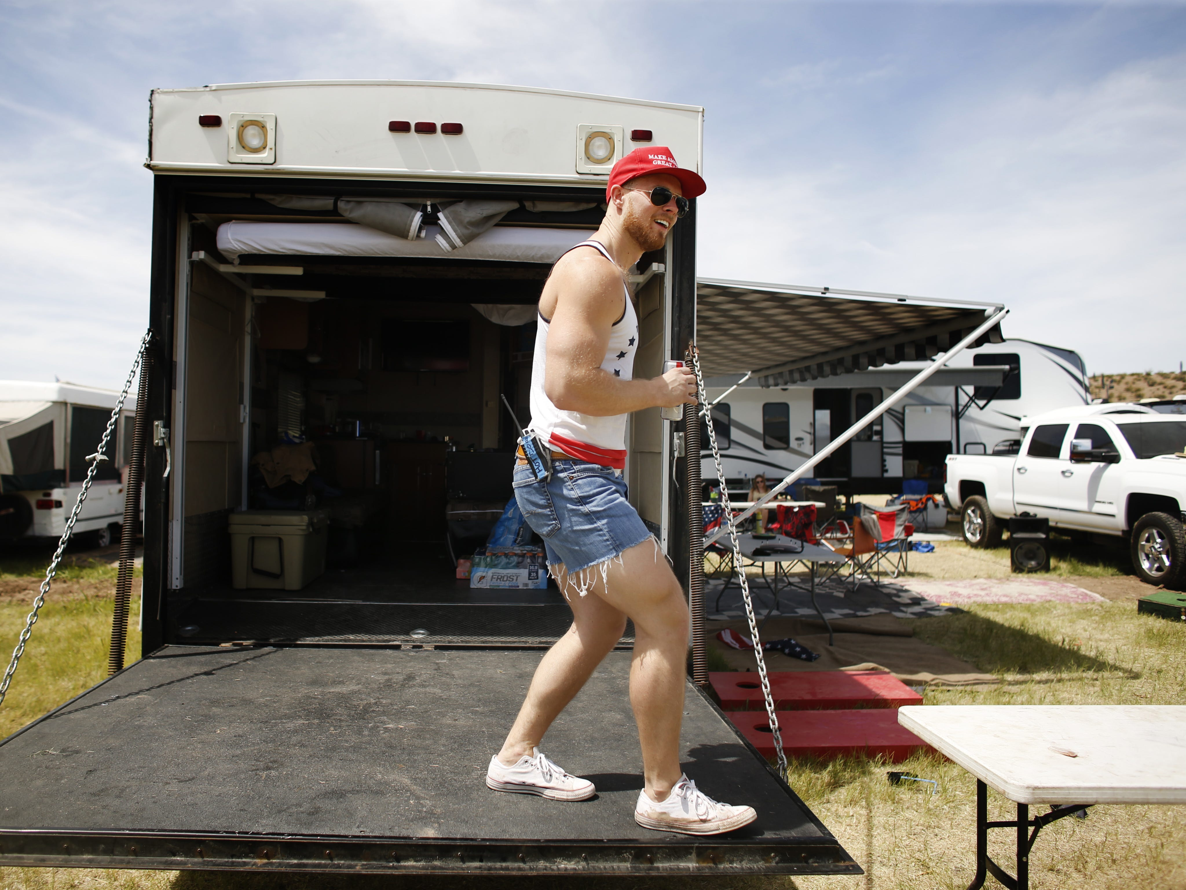 Miles Dillon dances as he listens to country music during Country Thunder in Florence, Ariz. on Sunday, April 14, 2019.