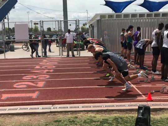 April 12, 2019: Boys run in the 100-meter dash at Hohokam Invitational