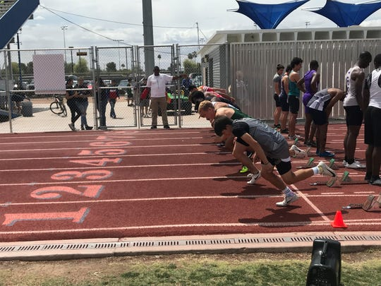 April 12, 2019: Boys run in the 100-meter dash at Hohokam Invitational