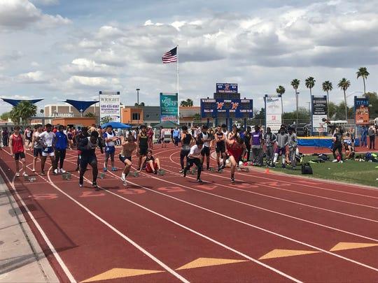 April 12, 2019; Boys 100-meter dash qualifying heat running at Hohokam Invitational at Mesa Westwood