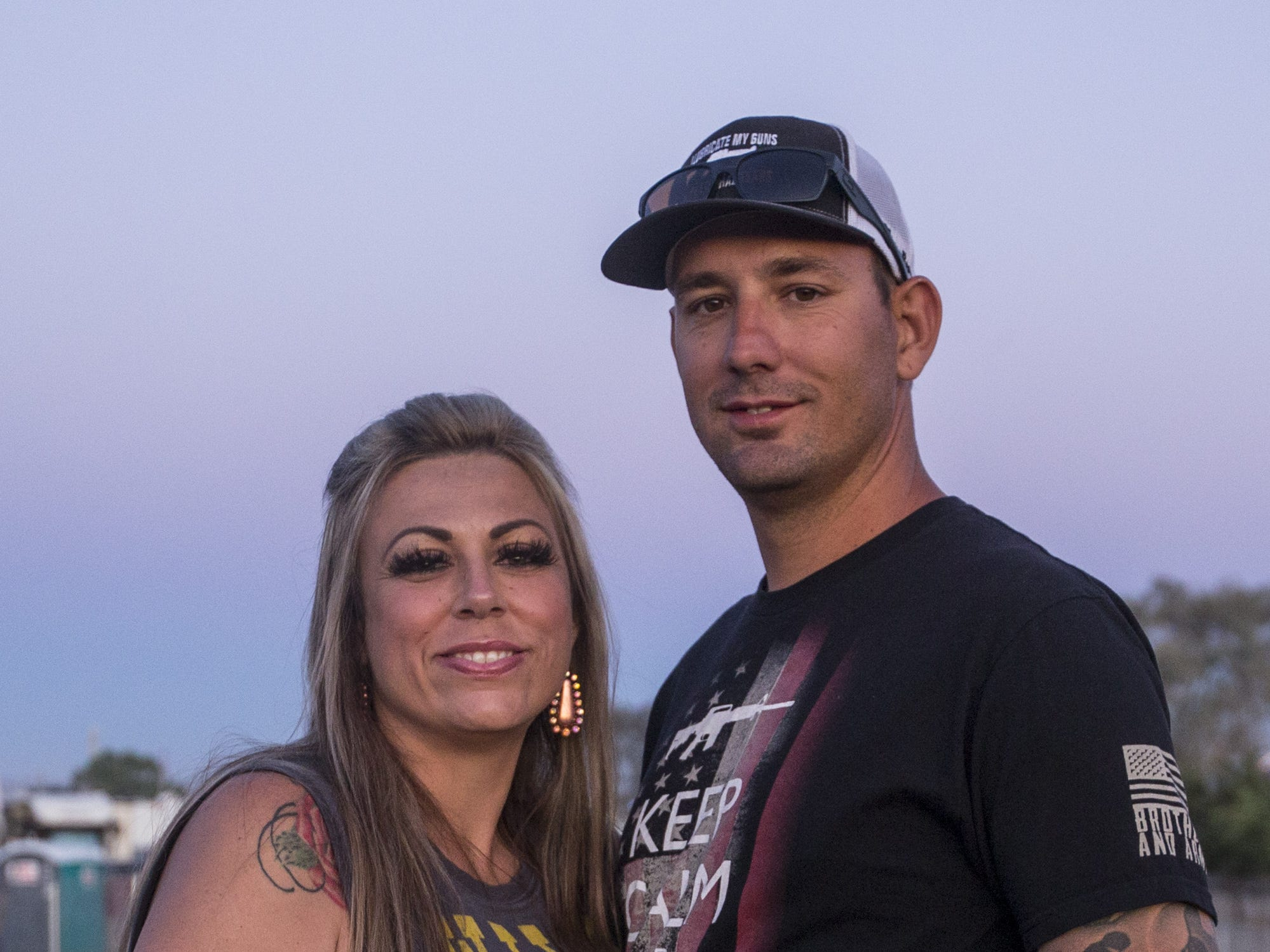 Rose and Doug Dibona pose for a portrait on Saturday, April 13, 2019, during Day 3 of Country Thunder Arizona in Florence, Ariz.