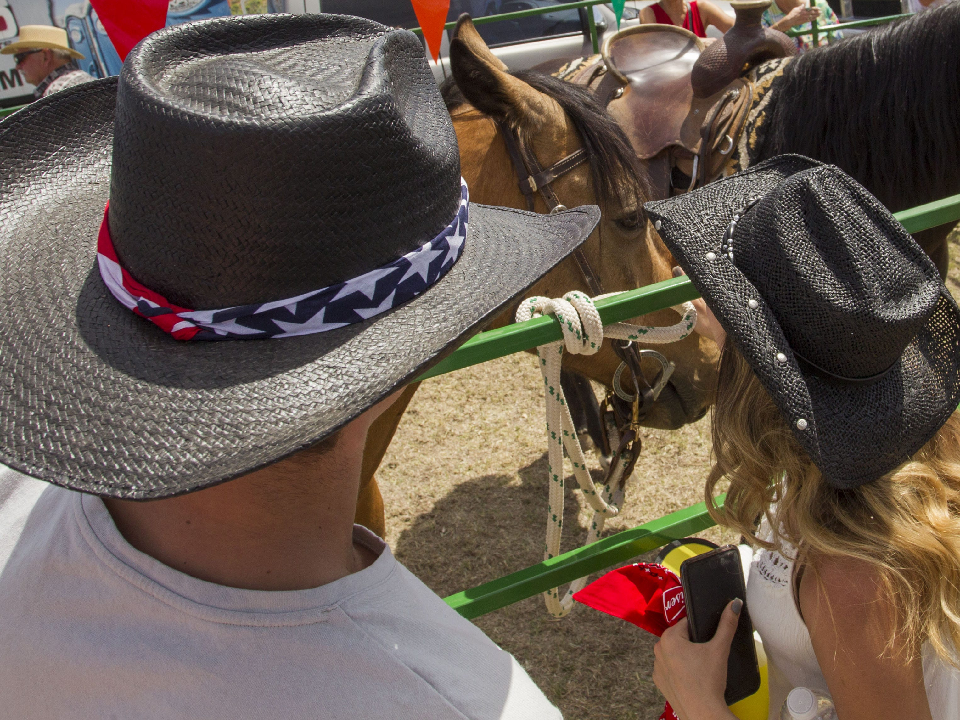 After Cowboy Church, ordained pastor Randy Helm's horse, Starbuck, gets a lot of love during Country Thunder Arizona Sunday, April 14, 2019, in Florence, Arizona.