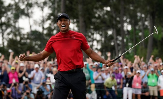 Tiger Woods reacts after winning the 2019 Masters. Woods, assuming he qualifies, is expected to compete in the 2021 BMW Championship at Caves Valley Golf Club in nearby Owings Mills, Maryland. The BMW event is the second of three FedEx Cup playoff events on the PGA Tour.