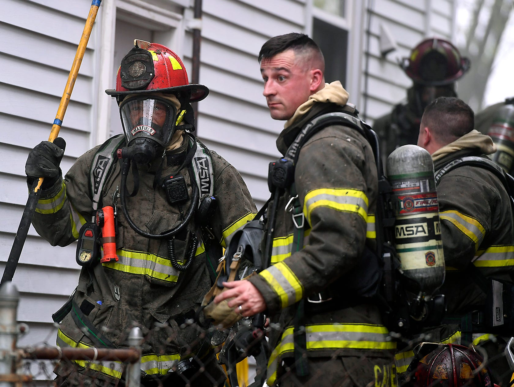 Firefighters quickly doused a blaze in a home in the 600 block of S. Pershing Ave., Sunday, April 14, 2019. The fire was contained to a first floor laundry room. 