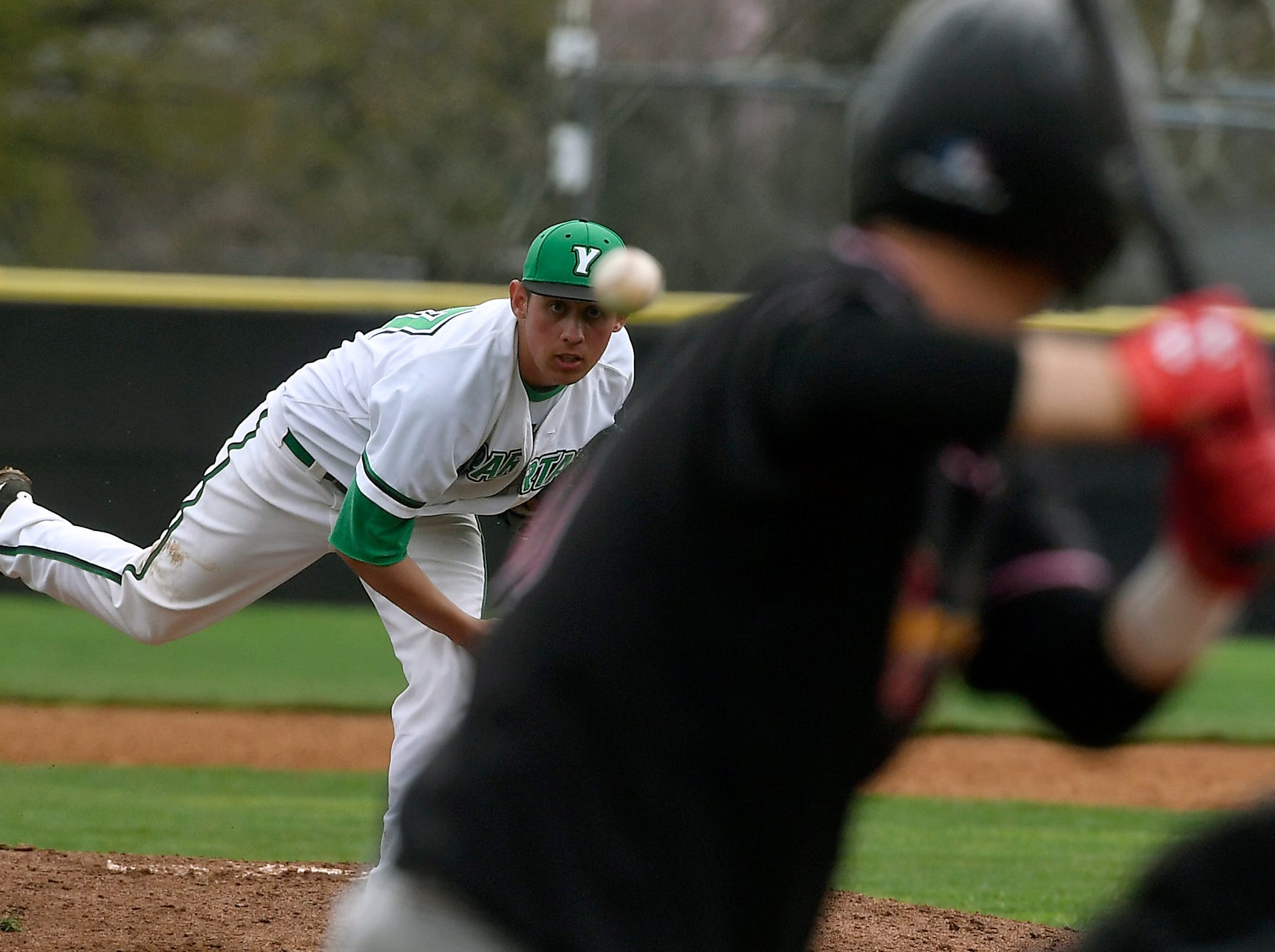 York College reliever Conor Miller, left, earned the win against Rudgers Camden pitching four scoreless innings, Sunday, April 14, 2019.John A. Pavoncello photo