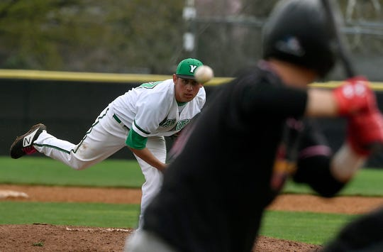 York College reliever Conor Miller, left, earned the win against Rudgers Camden pitching four scoreless innings, Sunday, April 14, 2019.