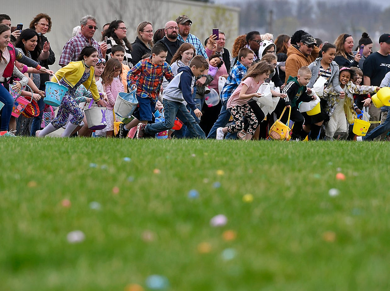 More than a thousand children take part in the first ever Easter Egg Hunt at Genesis Church in Seven Valleys, Sunday, April 14, 2019.John A. Pavoncello photo