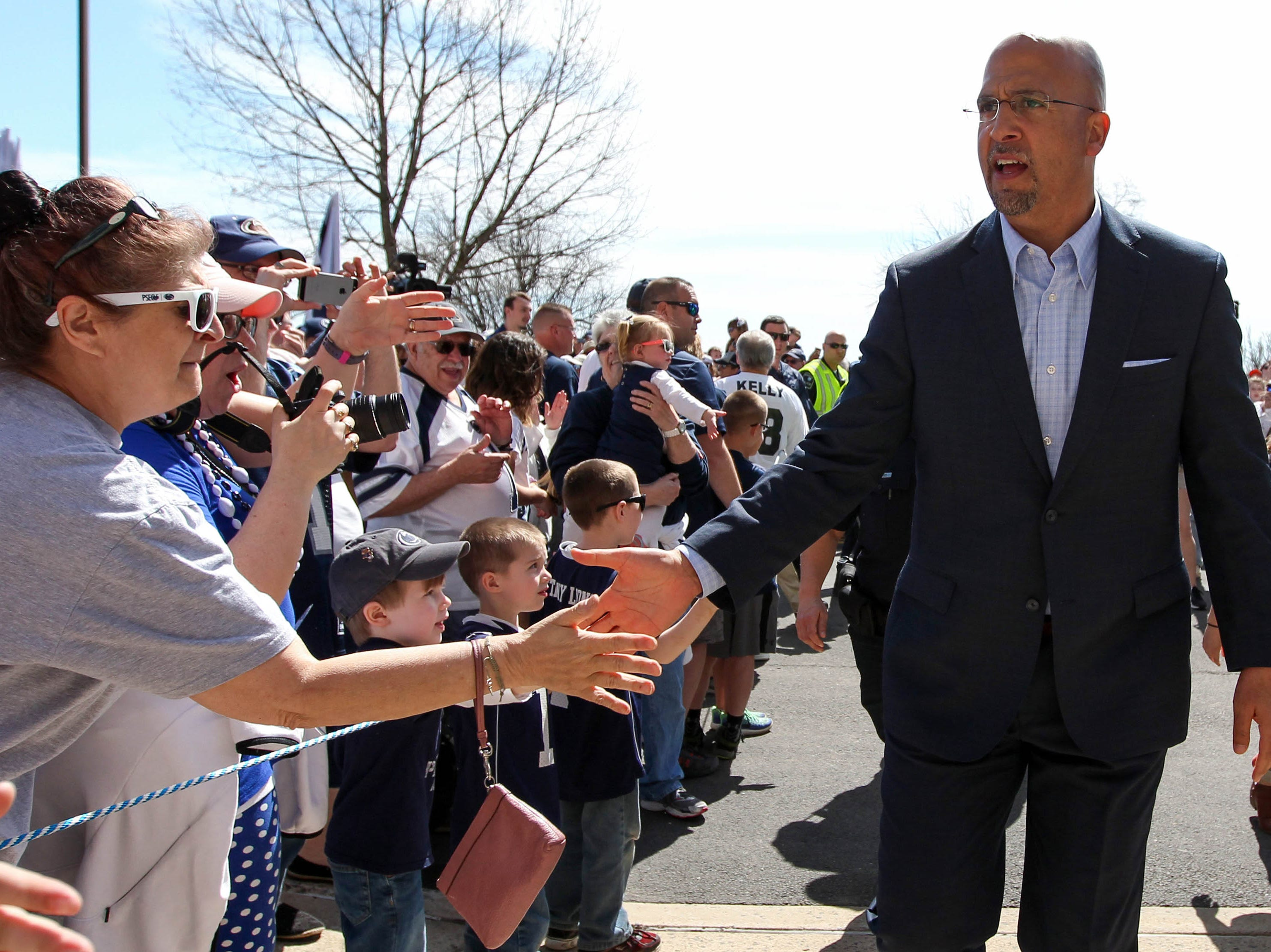 Apr 13, 2019; University Park, PA, USA; Penn State Nittany Lions head coach James Franklin shakes hands with the fans prior to the Blue White spring game at Beaver Stadium. Mandatory Credit: Matthew O'Haren-USA TODAY Sports