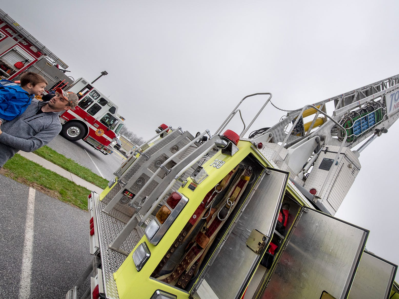 Tower 58 from New Freedom rises above the Truck Zoo at Paul Smith Library of Southern York County.