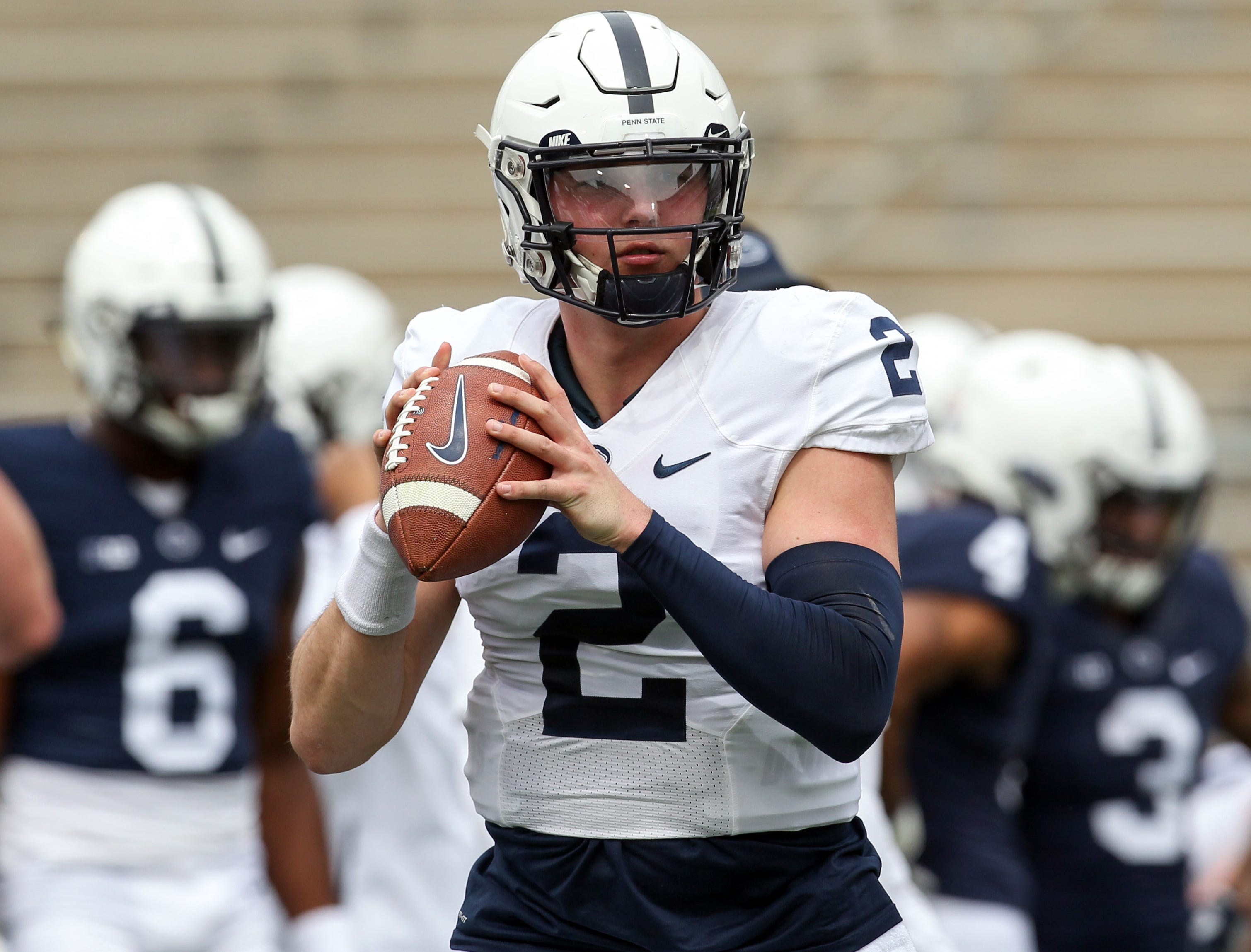 Penn State quarterback Tommy Stevens looks to throw a pass during a warmup prior to the team's Blue White spring game. (Photo: Matthew OHaren, USA TODAY Sports)