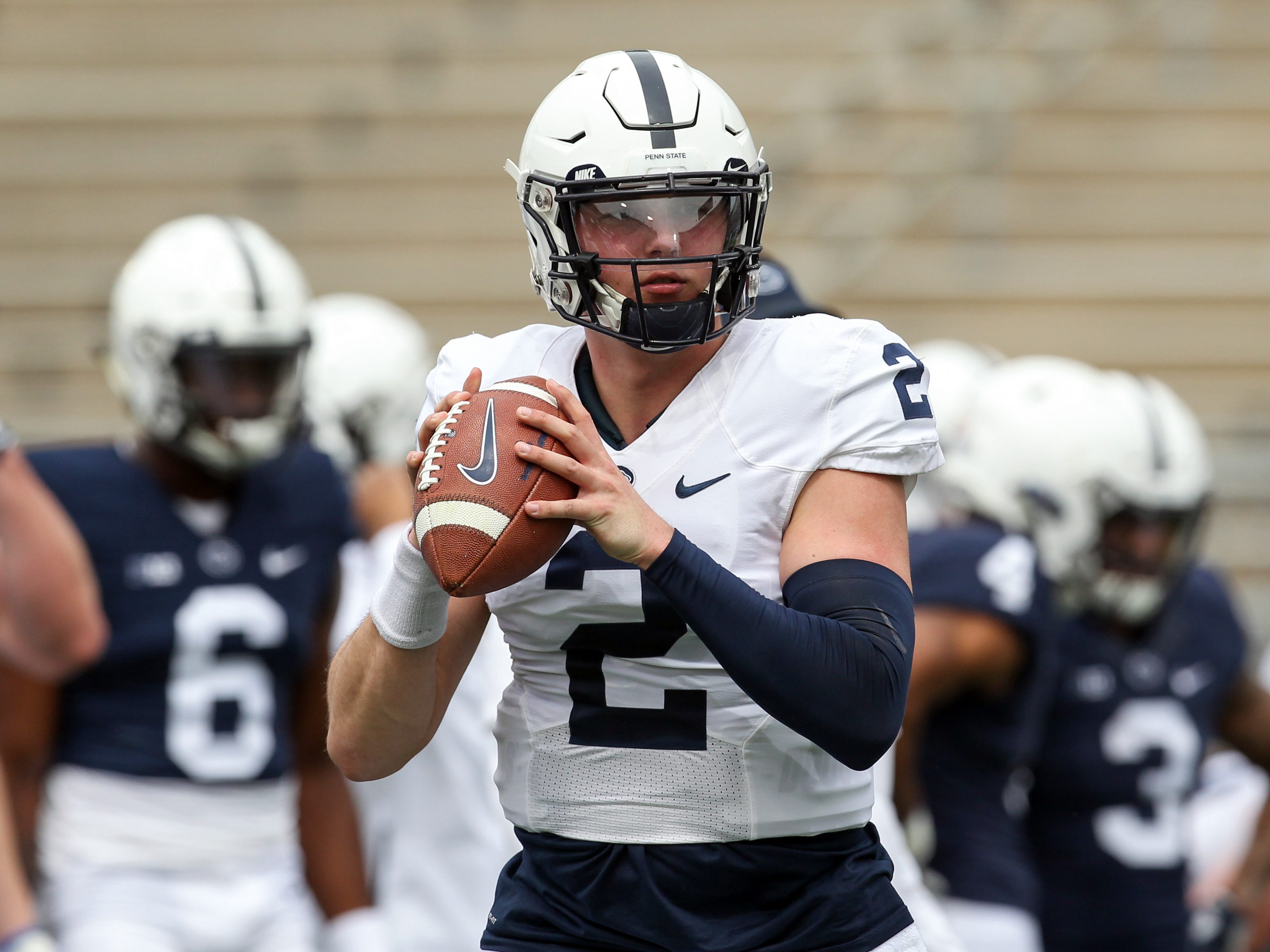Penn State quarterback Tommy Stevens  looks to throw a pass during a warmup prior to the team's Blue White spring game.