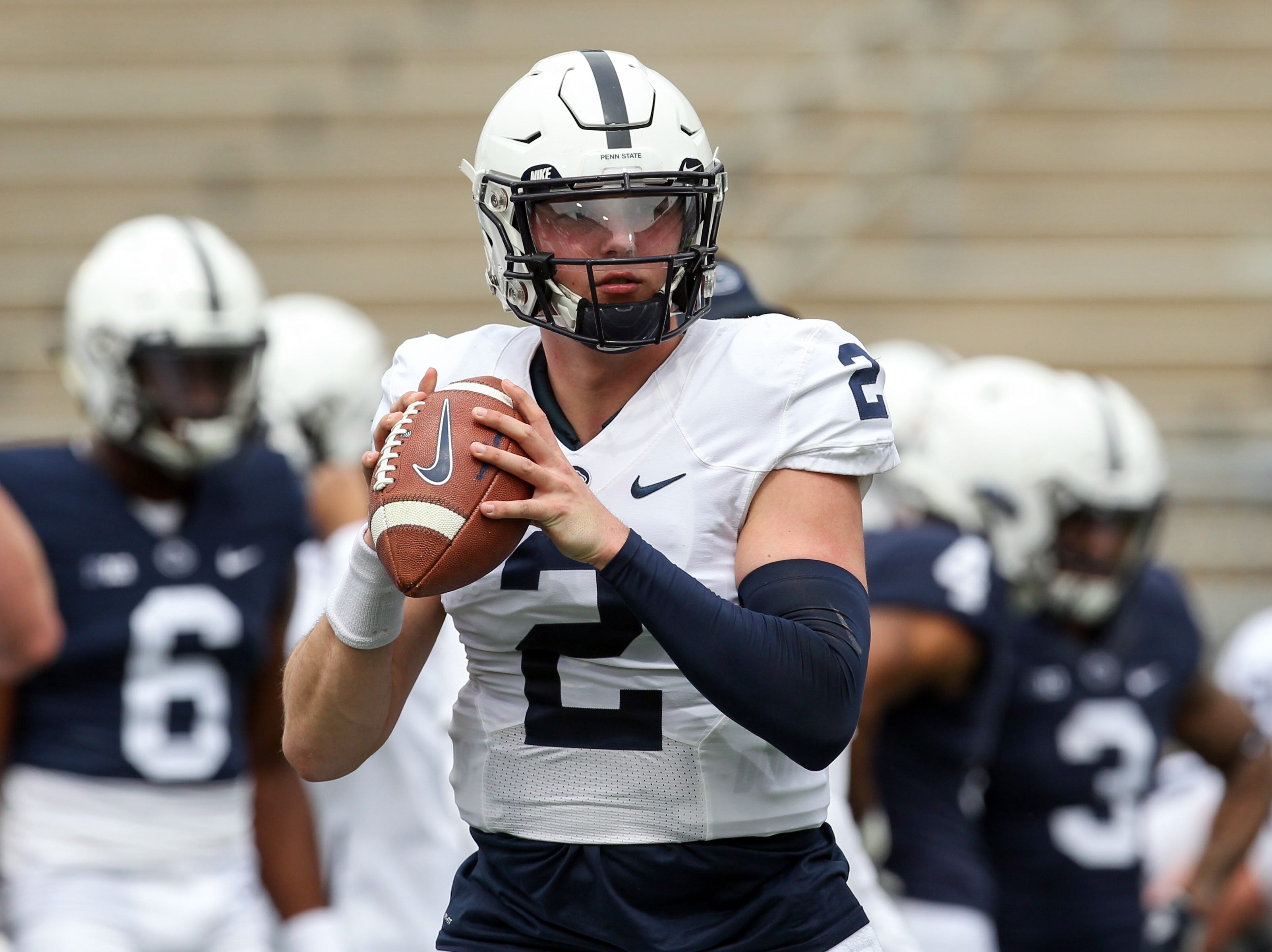 Apr 13, 2019; University Park, PA, USA; Penn State Nittany Lions quarterback Tommy Stevens (2) looks to throw a pass during a warmup prior to the Blue White spring game at Beaver Stadium. Mandatory Credit: Matthew O'Haren-USA TODAY Sports