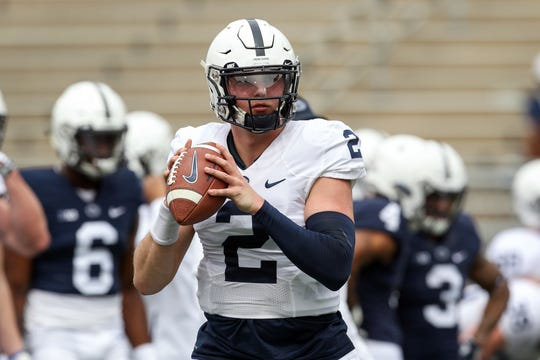 Penn State Nittany Lions quarterback Tommy Stevens (2) looks to throw a pass during a warmup prior to the Blue-White spring game at Beaver Stadium.
