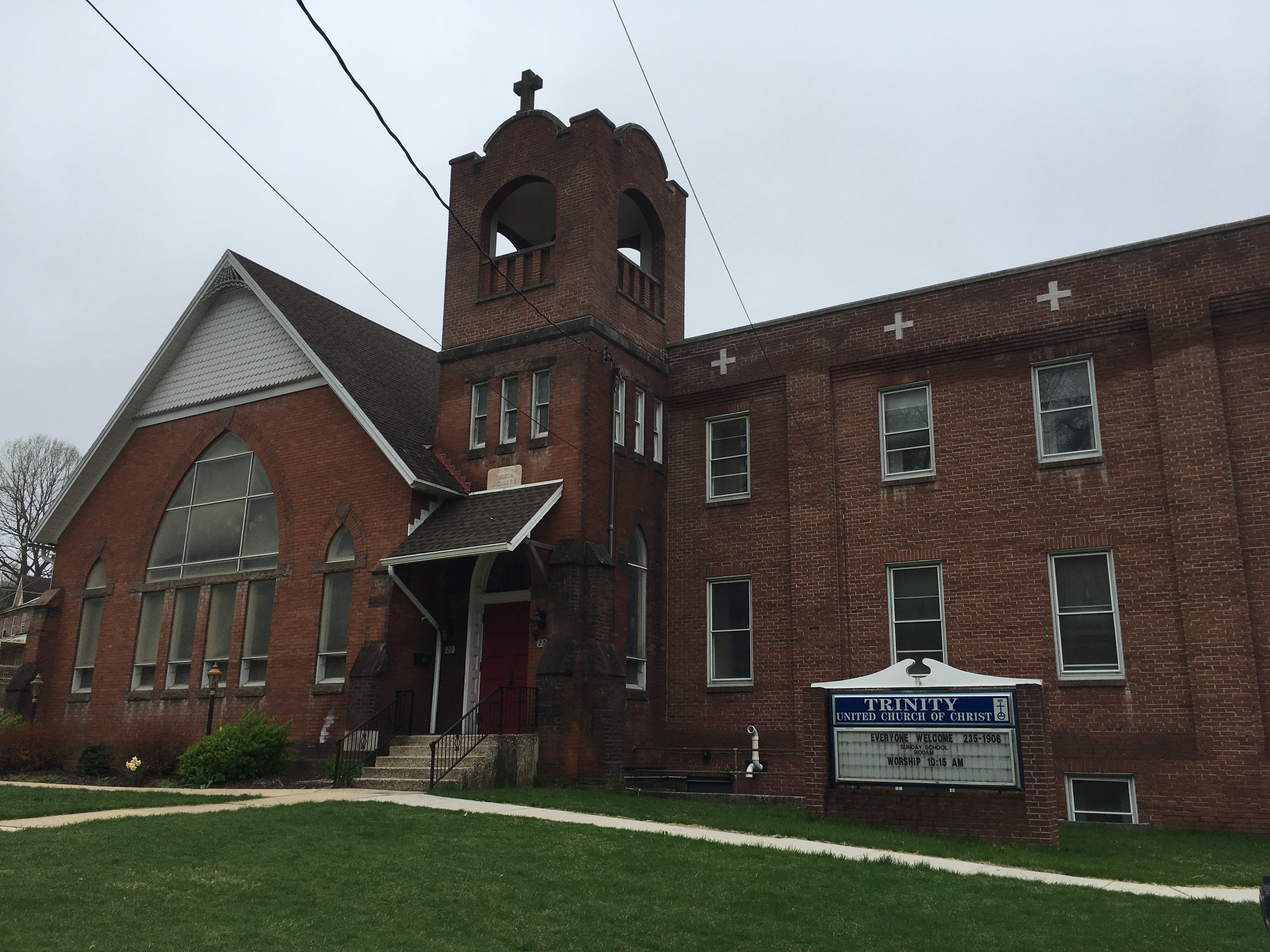 The front of Trinity UCC in Glen Rock, where police say a Bible was burned on Friday night.